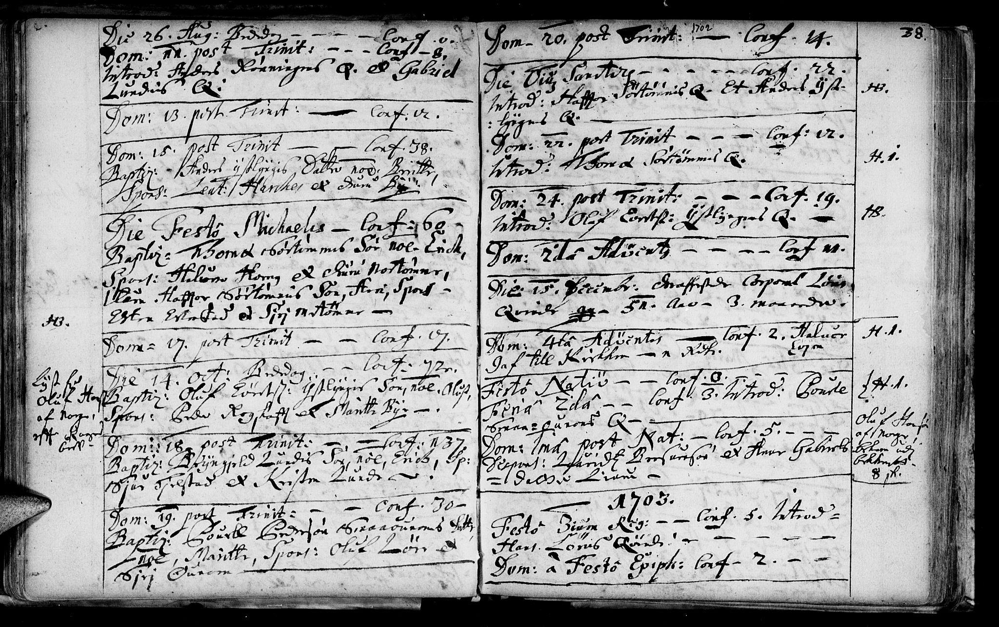 SAT, Ministerialprotokoller, klokkerbøker og fødselsregistre - Sør-Trøndelag, 692/L1101: Ministerialbok nr. 692A01, 1690-1746, s. 38