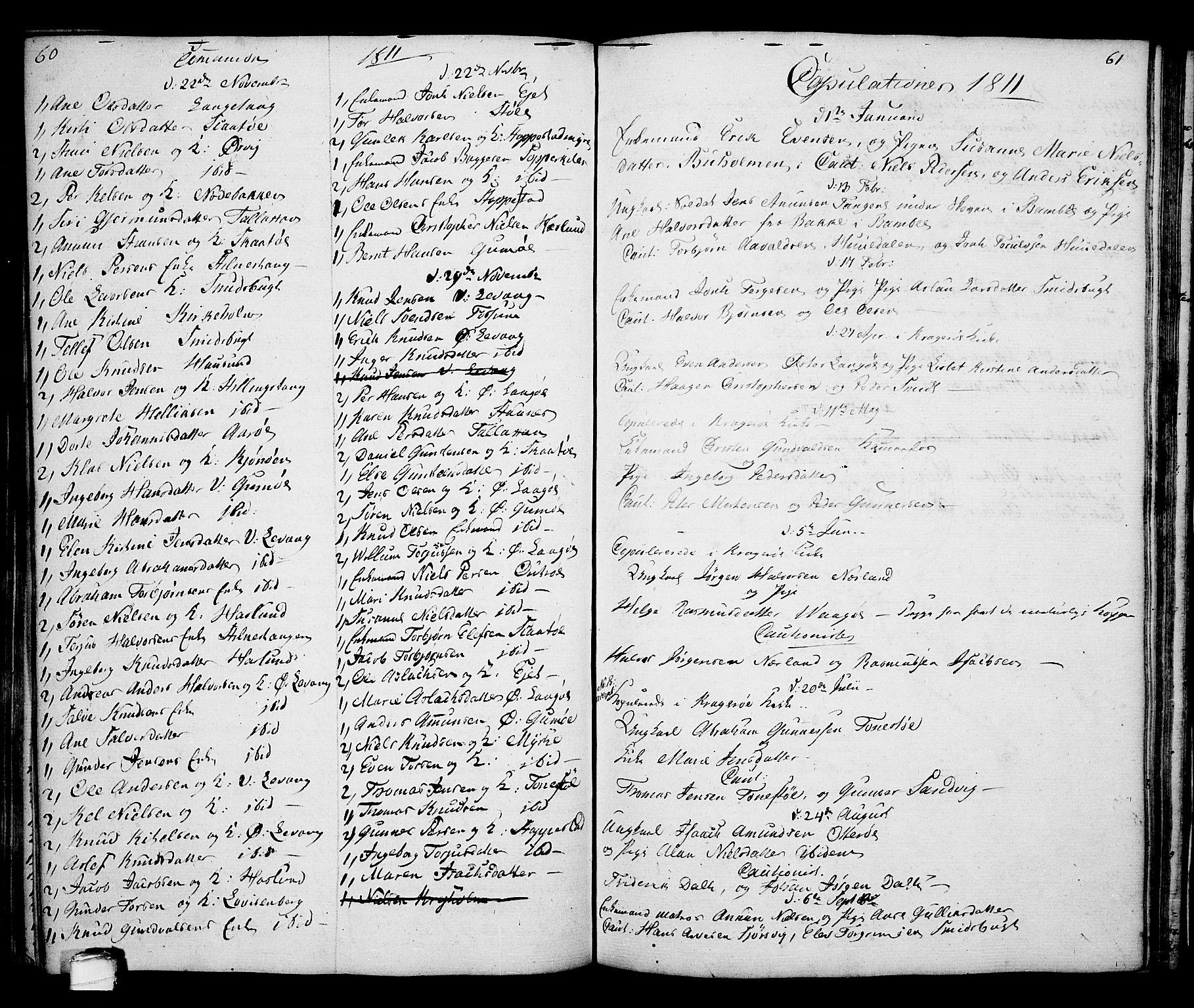 SAKO, Kragerø kirkebøker, G/Ga/L0001: Klokkerbok nr. 1 /2, 1806-1811, s. 60-61