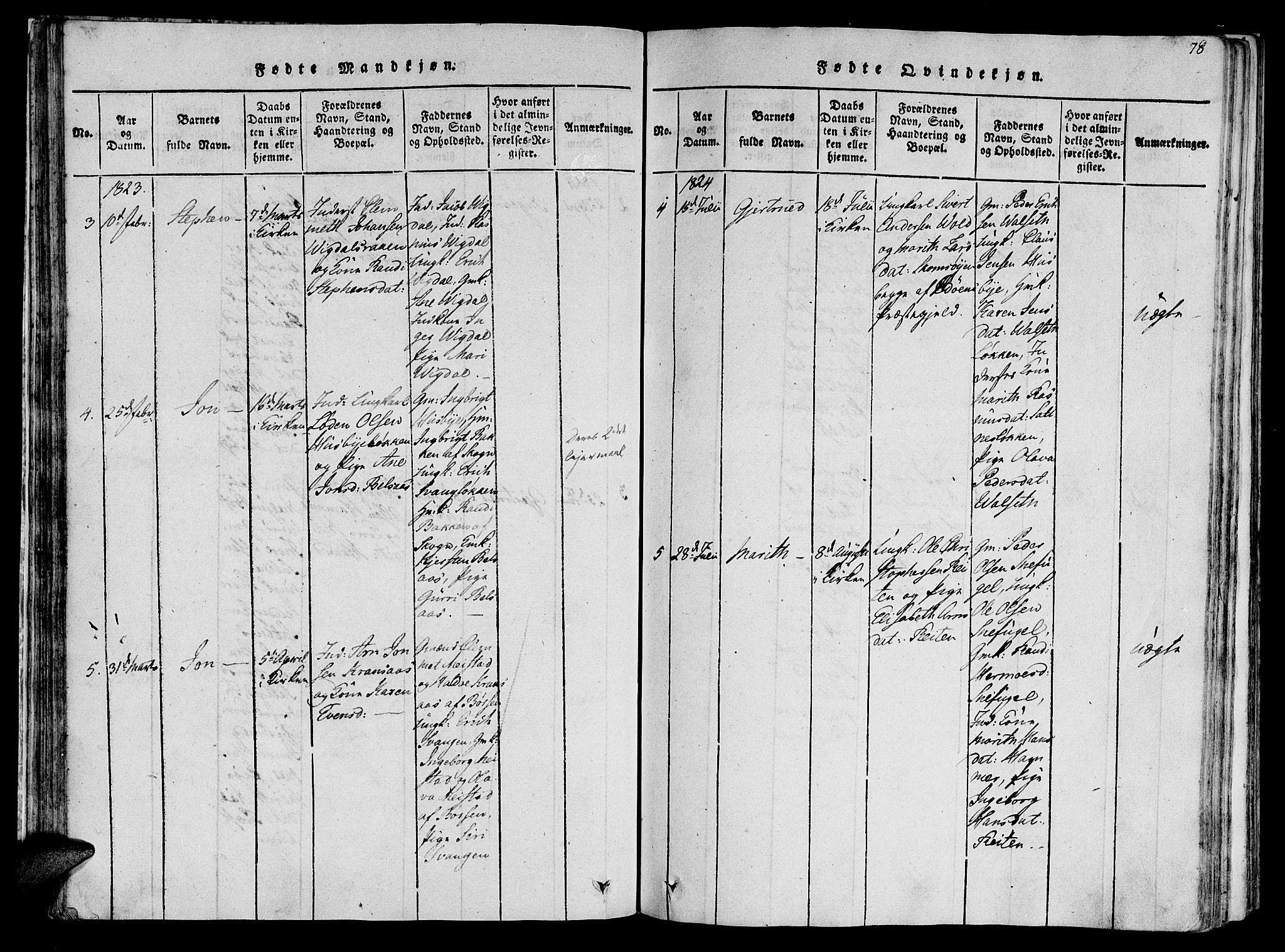 SAT, Ministerialprotokoller, klokkerbøker og fødselsregistre - Sør-Trøndelag, 612/L0373: Ministerialbok nr. 612A06 /2, 1816-1828, s. 78