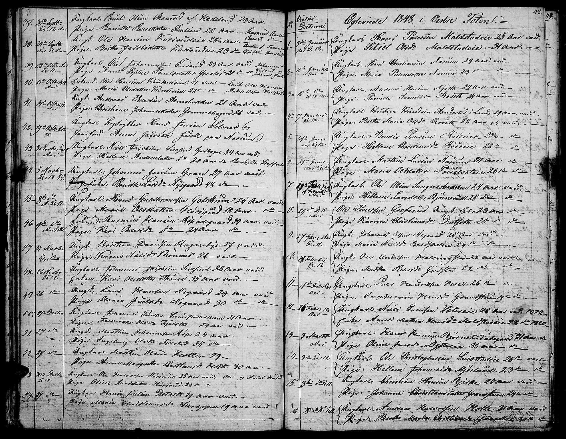SAH, Vestre Toten prestekontor, H/Ha/Hab/L0003: Klokkerbok nr. 3, 1846-1854, s. 42