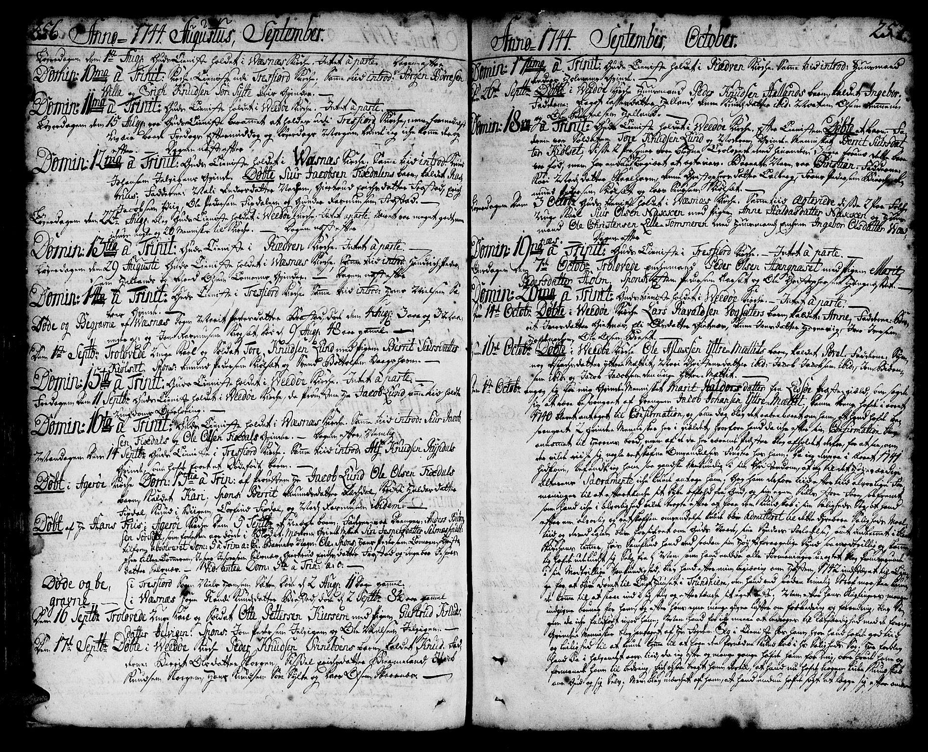 SAT, Ministerialprotokoller, klokkerbøker og fødselsregistre - Møre og Romsdal, 547/L0599: Ministerialbok nr. 547A01, 1721-1764, s. 256-257