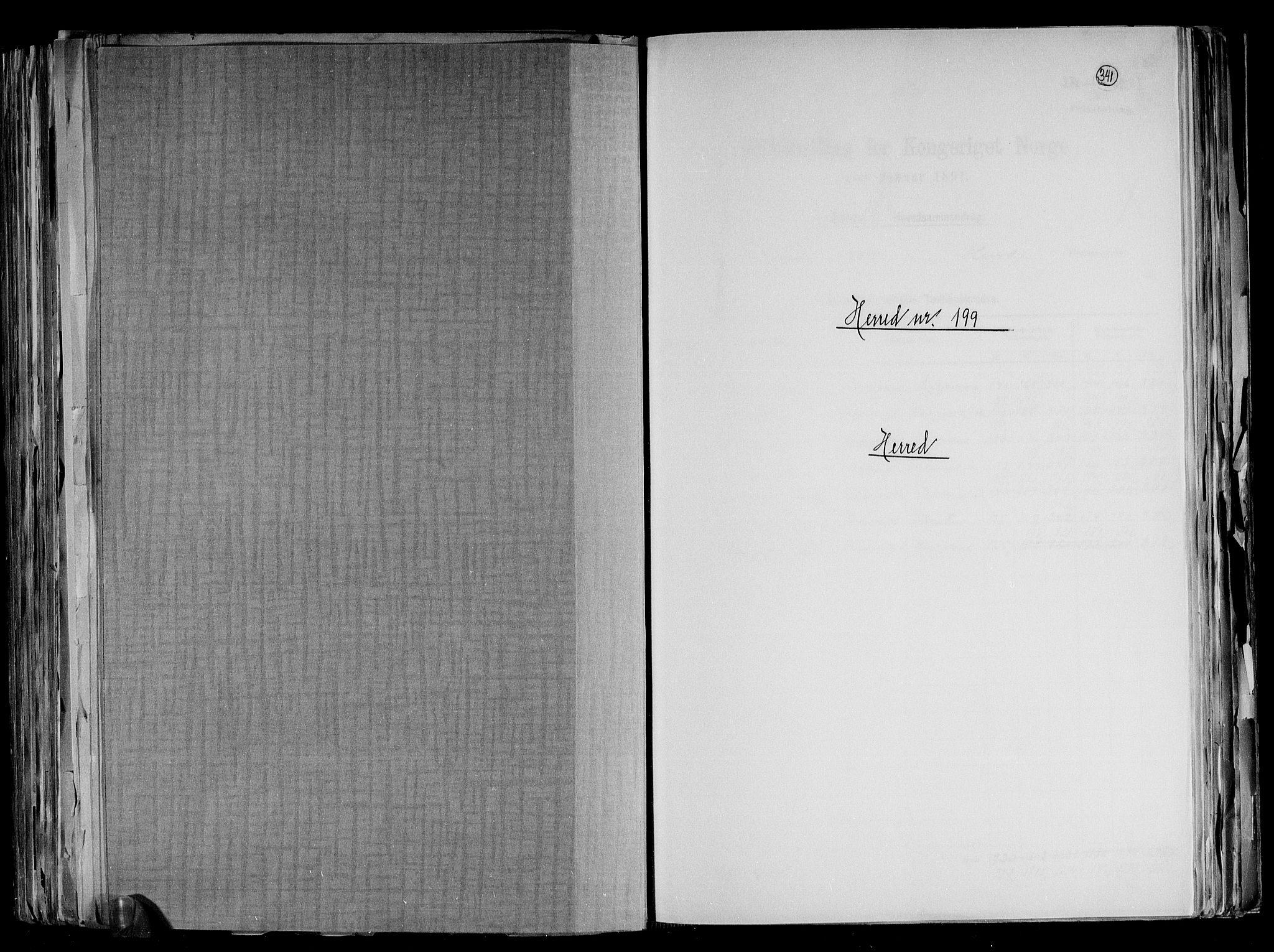 RA, Folketelling 1891 for 1039 Herad herred, 1891, s. 1