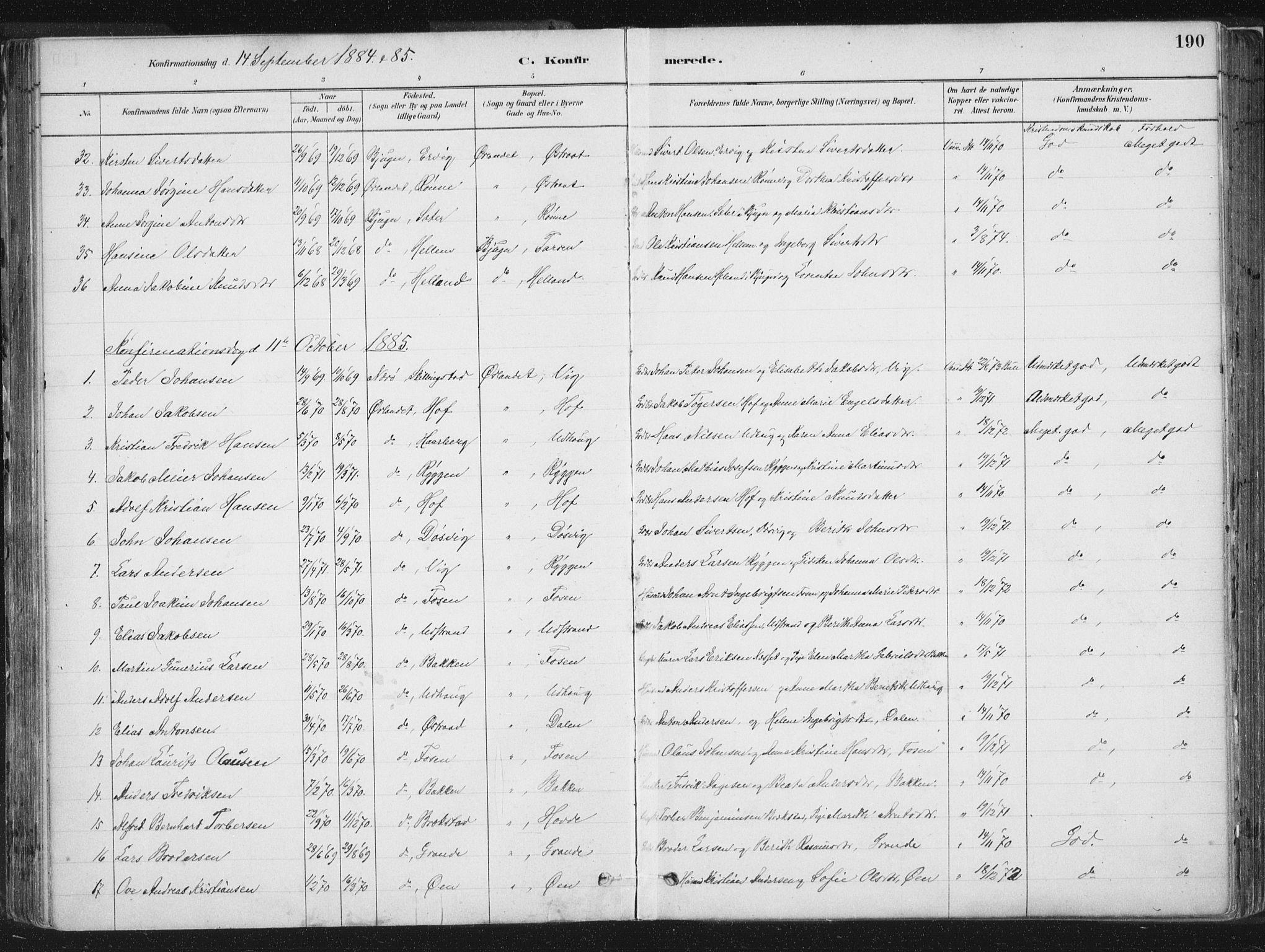 SAT, Ministerialprotokoller, klokkerbøker og fødselsregistre - Sør-Trøndelag, 659/L0739: Ministerialbok nr. 659A09, 1879-1893, s. 190