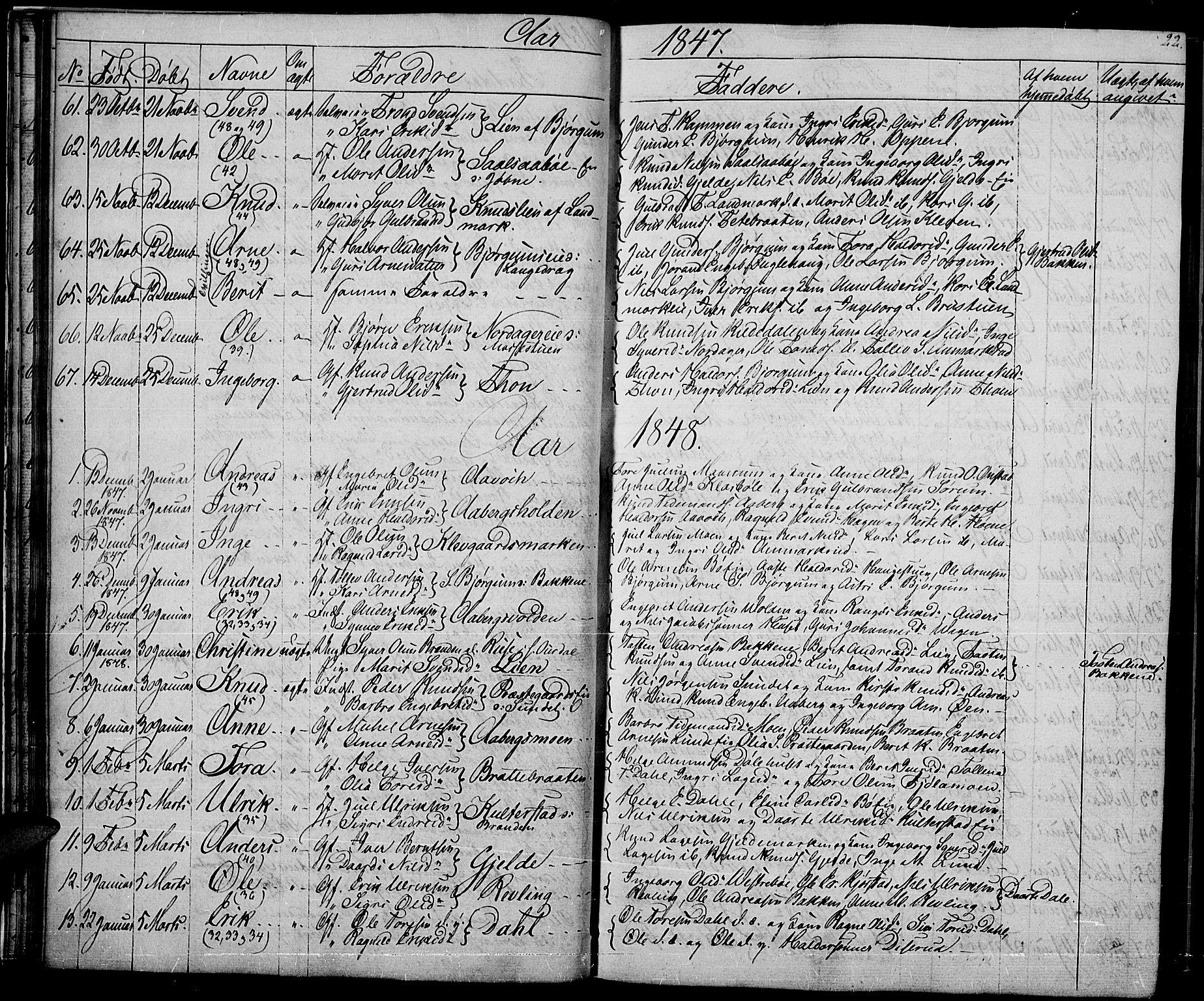 SAH, Nord-Aurdal prestekontor, Klokkerbok nr. 2, 1842-1877, s. 22