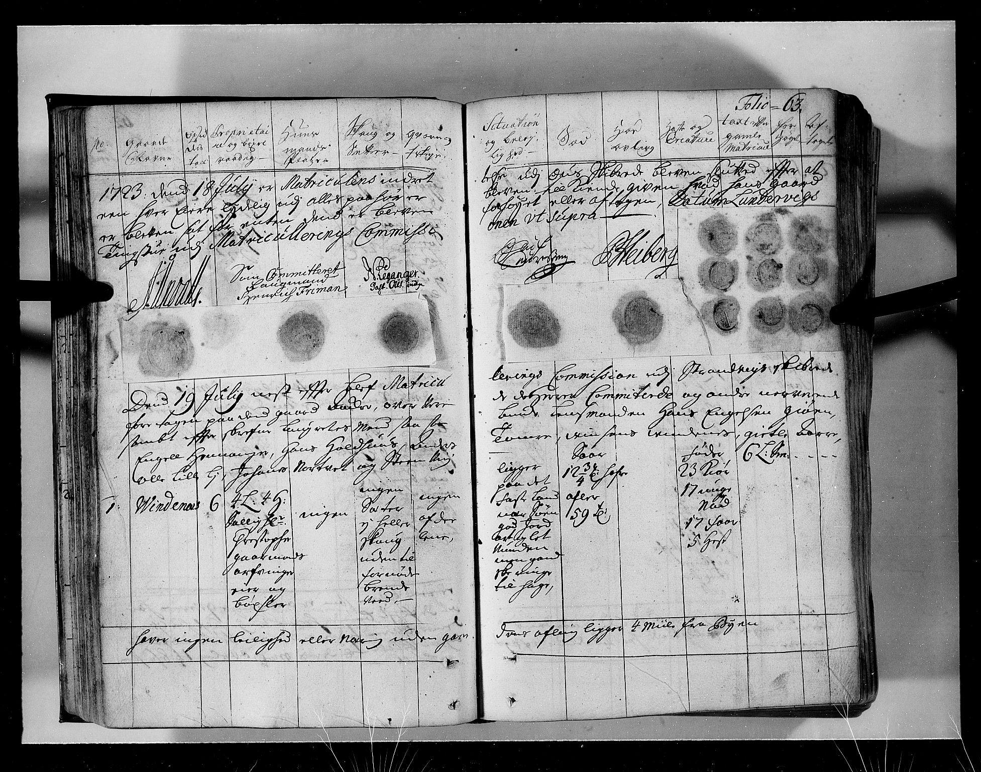 RA, Rentekammeret inntil 1814, Realistisk ordnet avdeling, N/Nb/Nbf/L0134: Sunnhordland eksaminasjonsprotokoll, 1723, s. 62b-63a