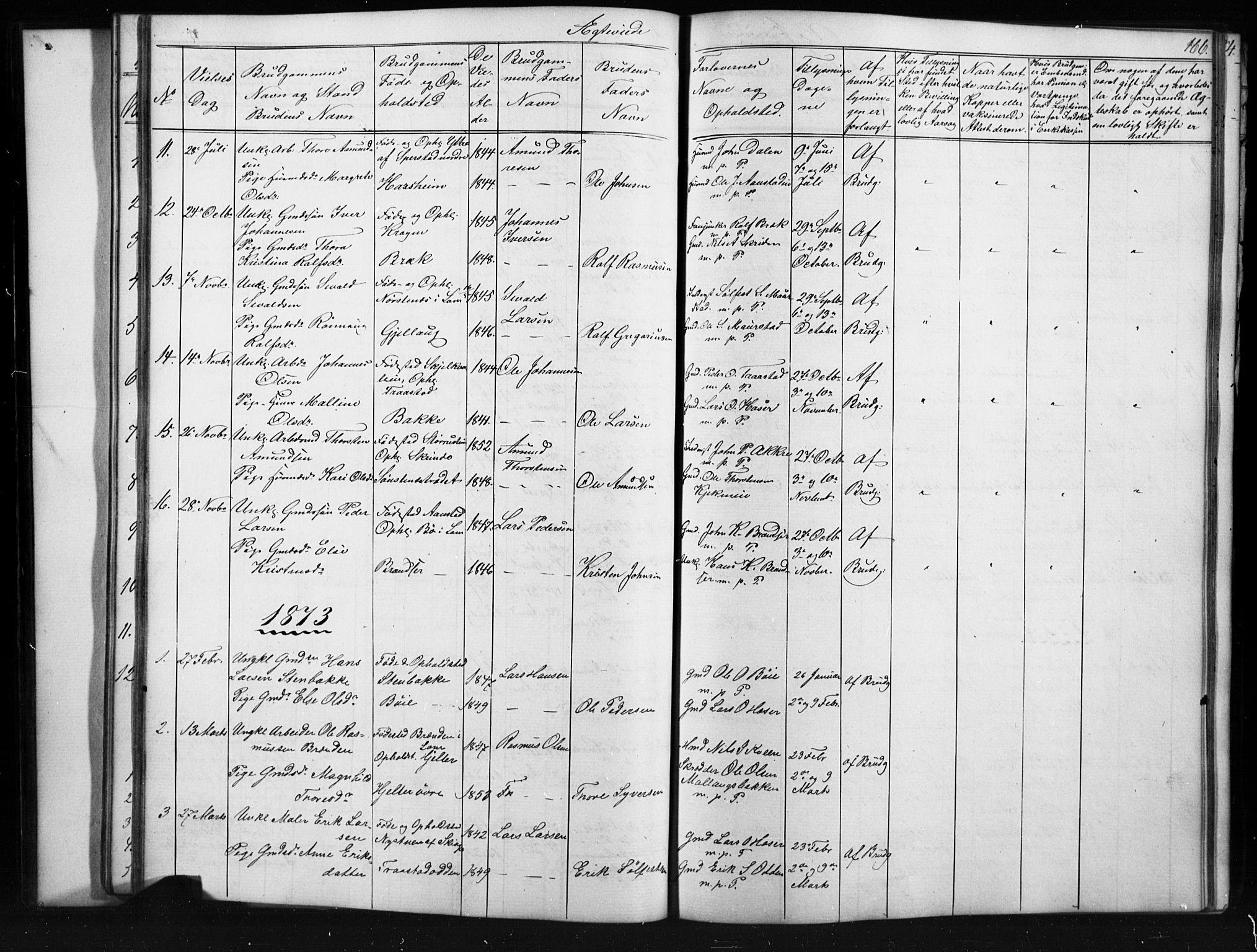 SAH, Skjåk prestekontor, Klokkerbok nr. 1, 1865-1893, s. 166
