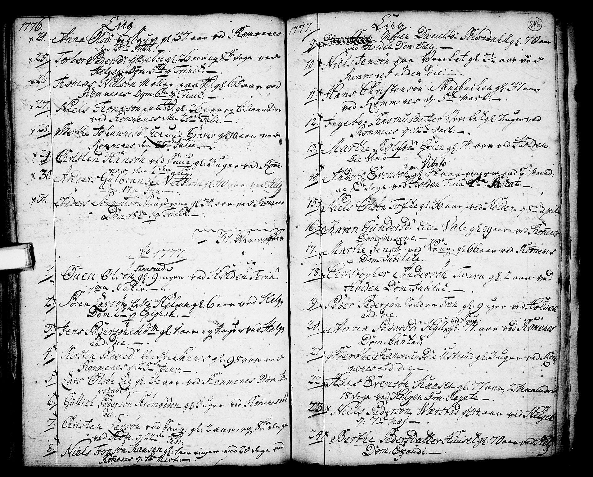 SAKO, Holla kirkebøker, F/Fa/L0001: Ministerialbok nr. 1, 1717-1779, s. 246