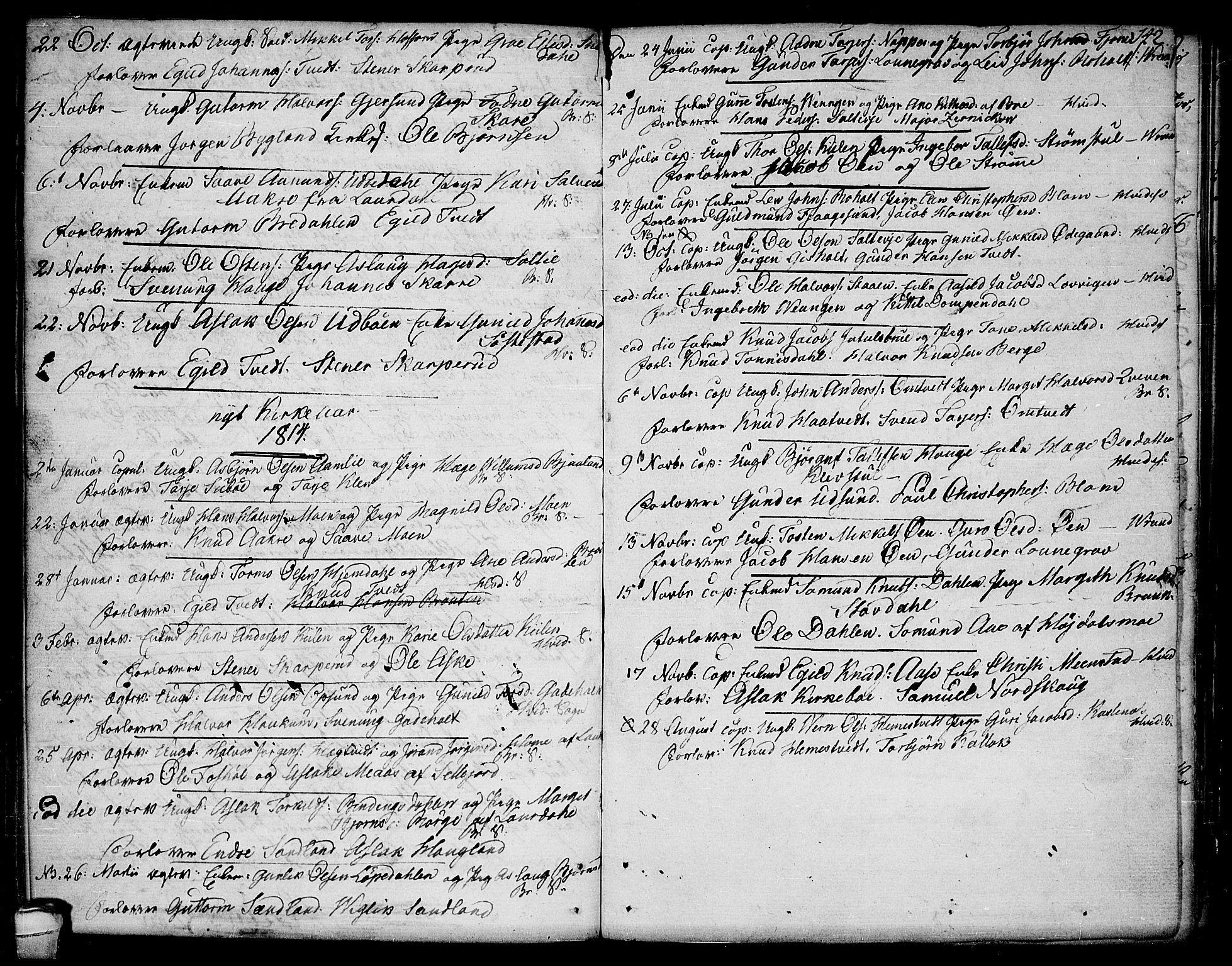 SAKO, Kviteseid kirkebøker, F/Fa/L0004: Ministerialbok nr. I 4, 1800-1814, s. 142