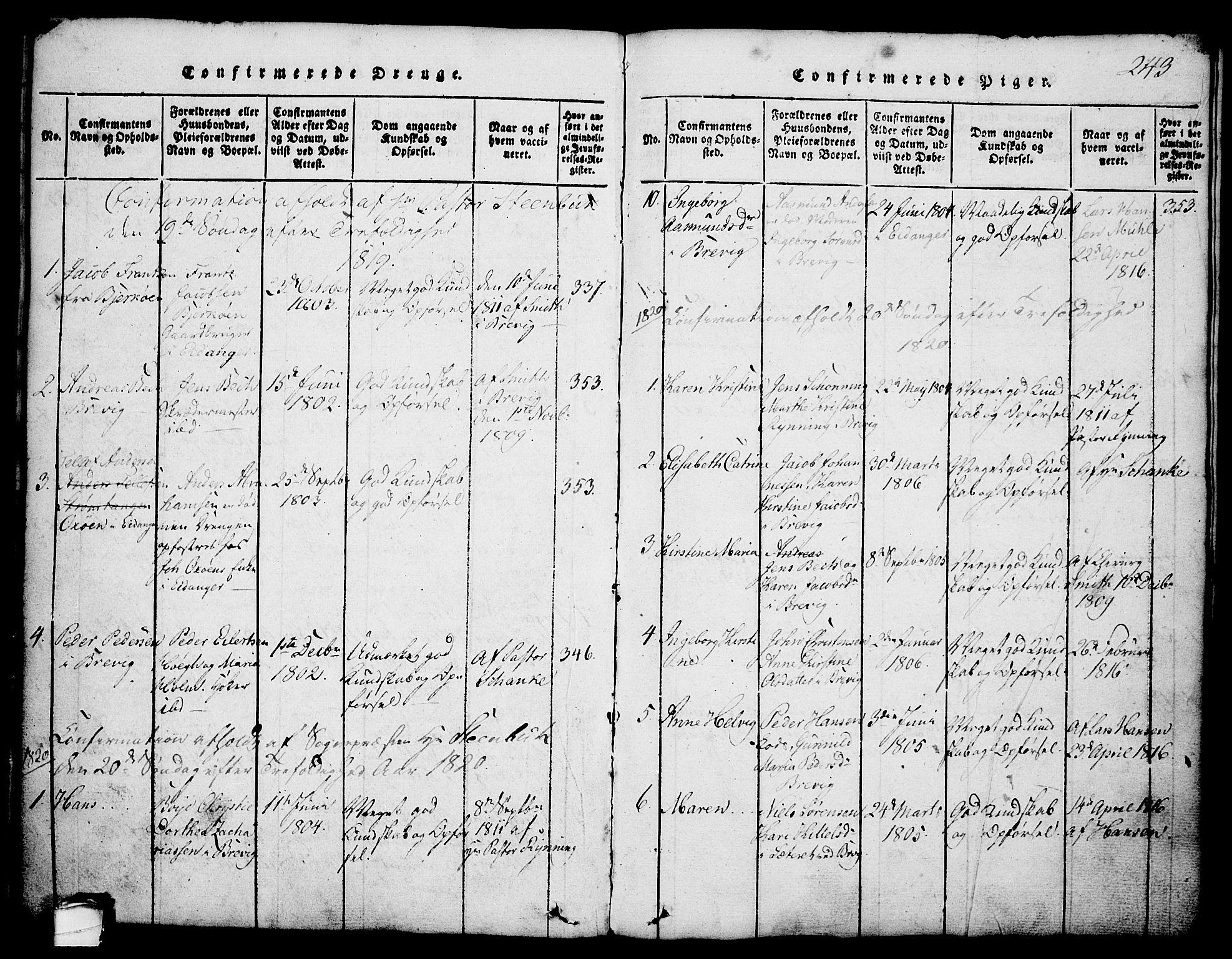 SAKO, Brevik kirkebøker, G/Ga/L0001: Klokkerbok nr. 1, 1814-1845, s. 243