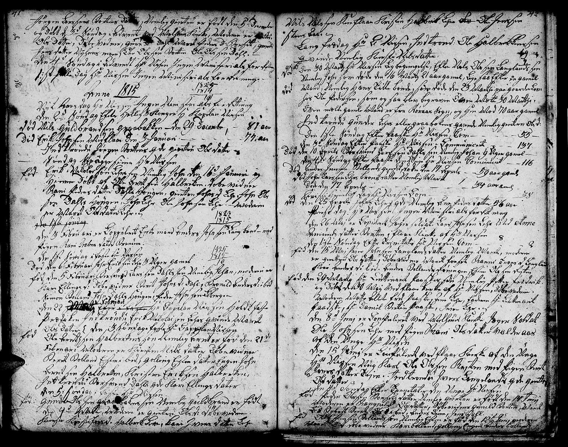 SAT, Ministerialprotokoller, klokkerbøker og fødselsregistre - Sør-Trøndelag, 693/L1120: Klokkerbok nr. 693C01, 1799-1816, s. 41-42
