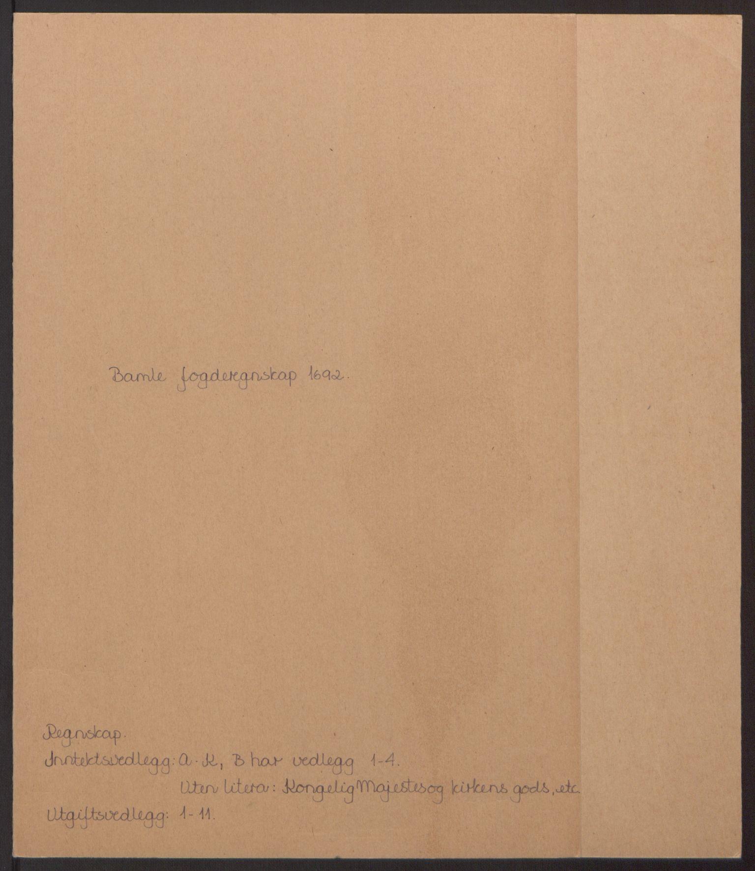 RA, Rentekammeret inntil 1814, Reviderte regnskaper, Fogderegnskap, R34/L2052: Fogderegnskap Bamble, 1692-1693, s. 2