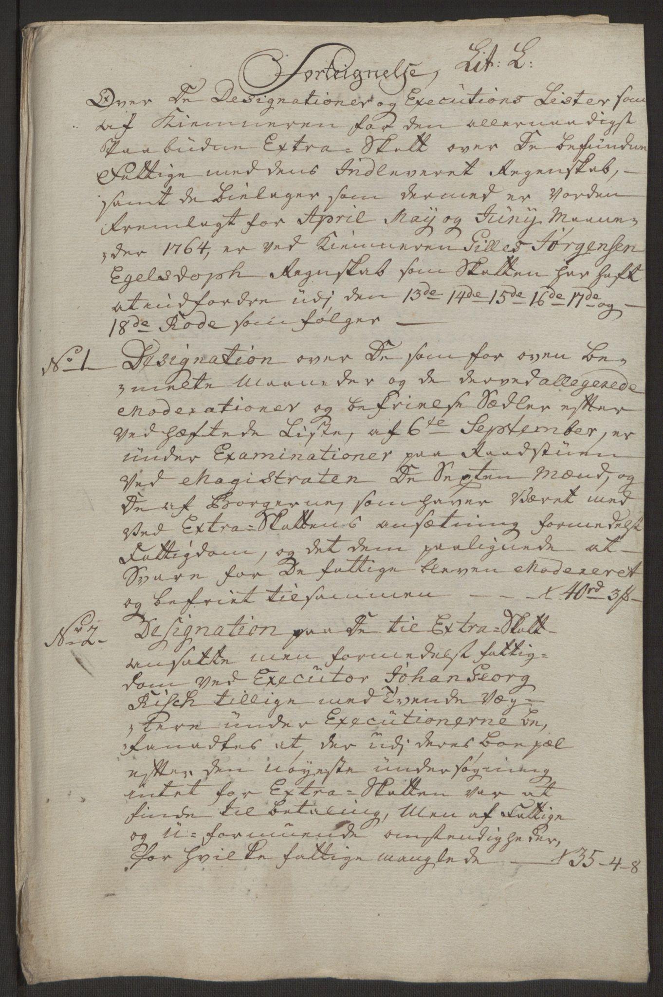 RA, Rentekammeret inntil 1814, Reviderte regnskaper, Byregnskaper, R/Rp/L0368: [P21] Kontribusjonsregnskap, 1764, s. 116