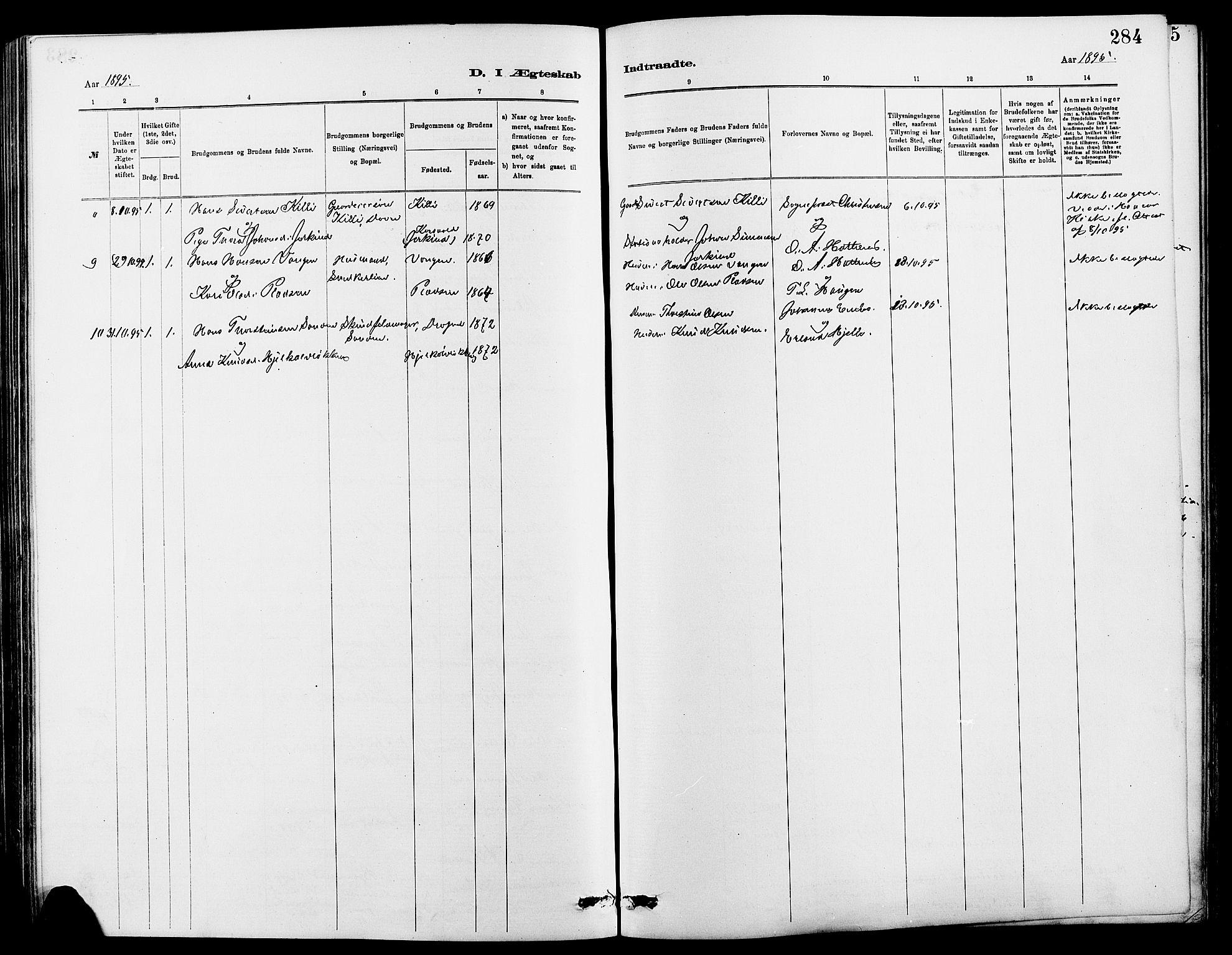 SAH, Dovre prestekontor, Klokkerbok nr. 2, 1881-1907, s. 284