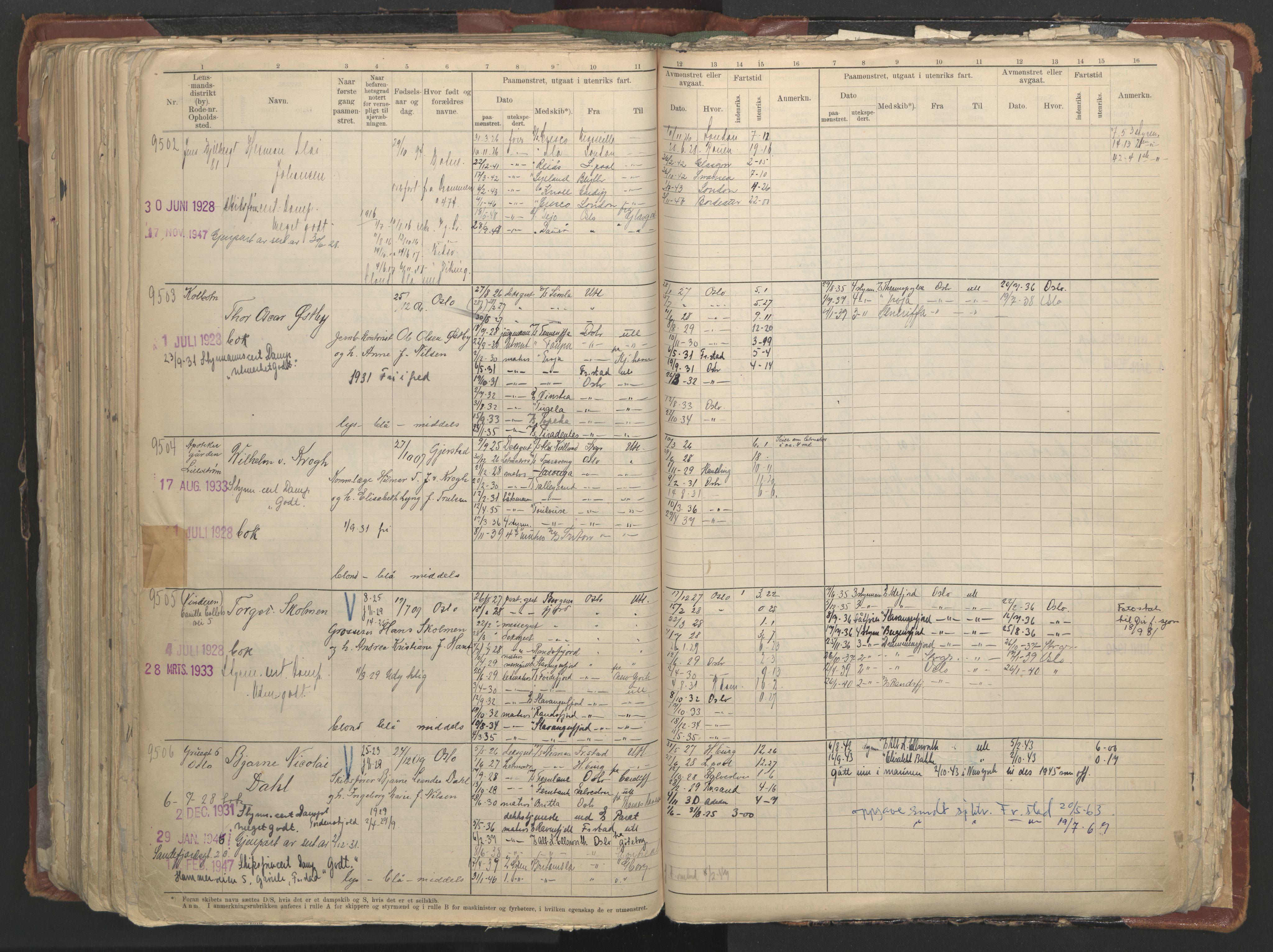 SAO, Oslo sjømannskontor, F/Fc/L0006: Hovedrulle, 1918-1930, s. 394