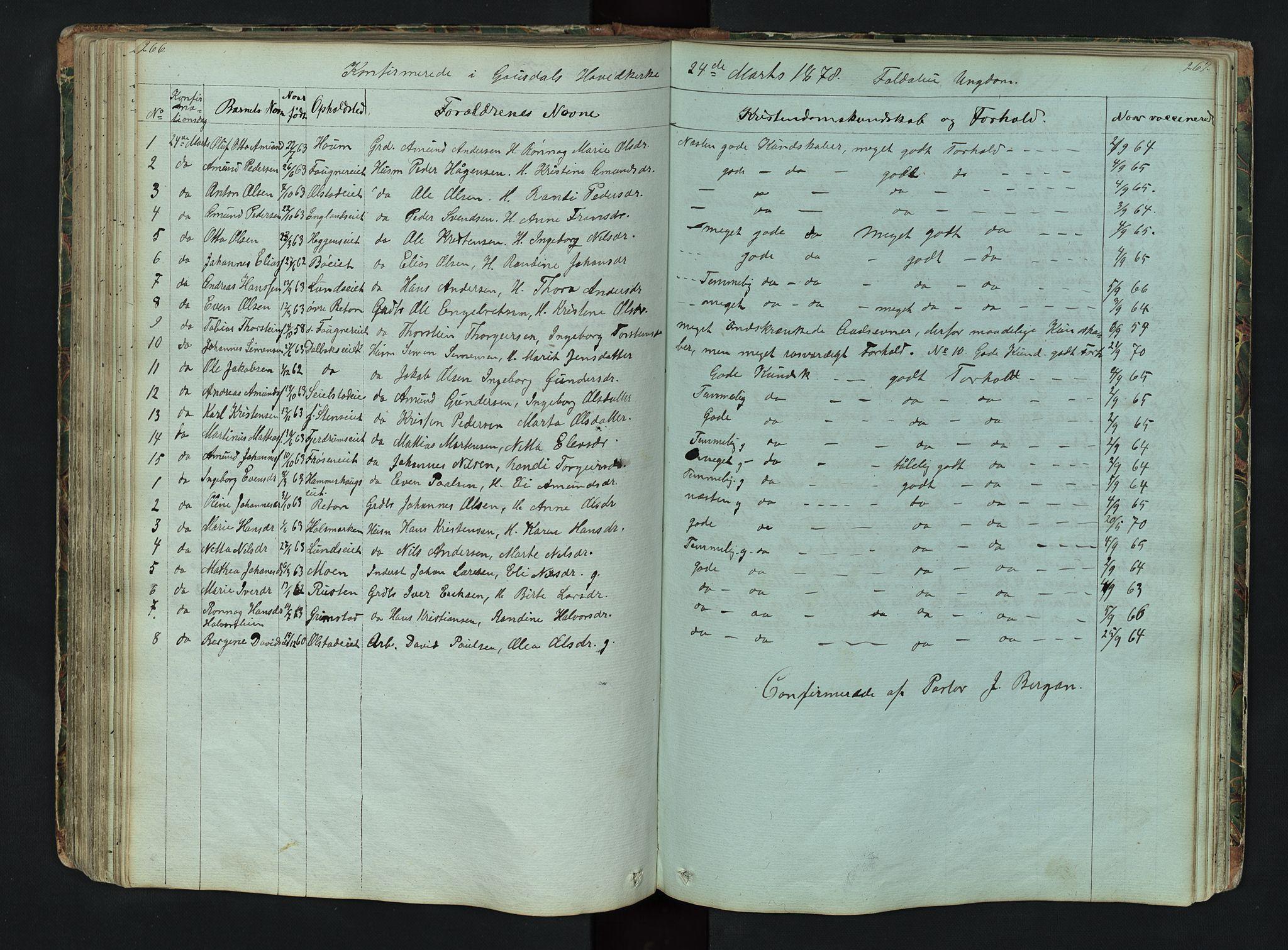 SAH, Gausdal prestekontor, Klokkerbok nr. 6, 1846-1893, s. 266-267