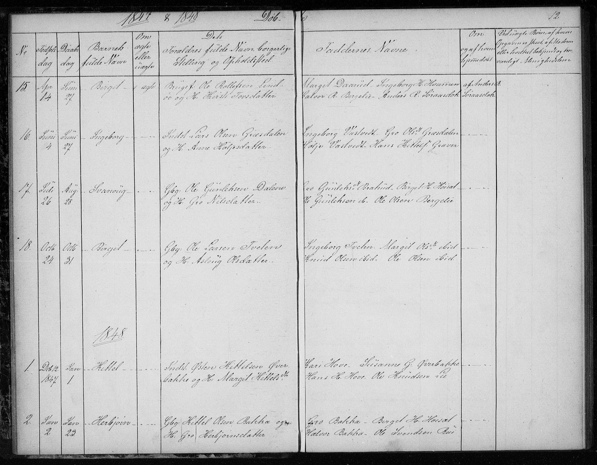 SAKO, Gransherad kirkebøker, F/Fb/L0003: Ministerialbok nr. II 3, 1844-1859, s. 12