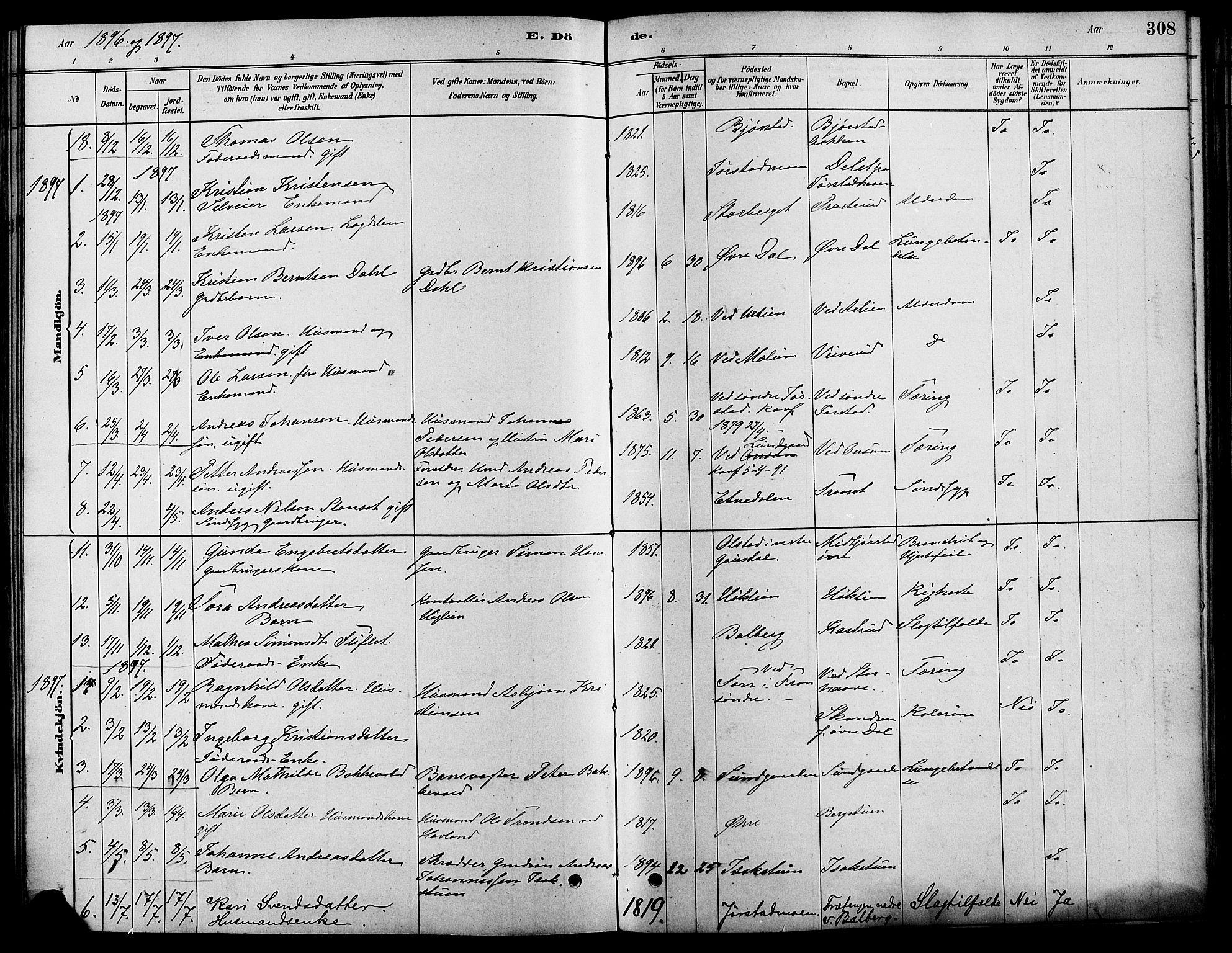 SAH, Fåberg prestekontor, Ministerialbok nr. 8, 1879-1898, s. 308