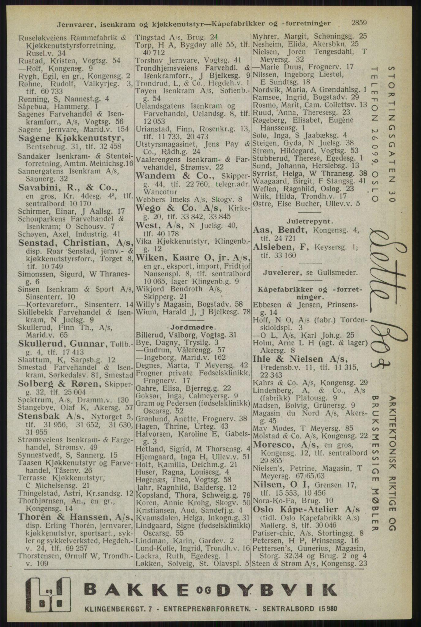 RA, Oslo adressebok (publikasjon)*, 1944, s. 2859