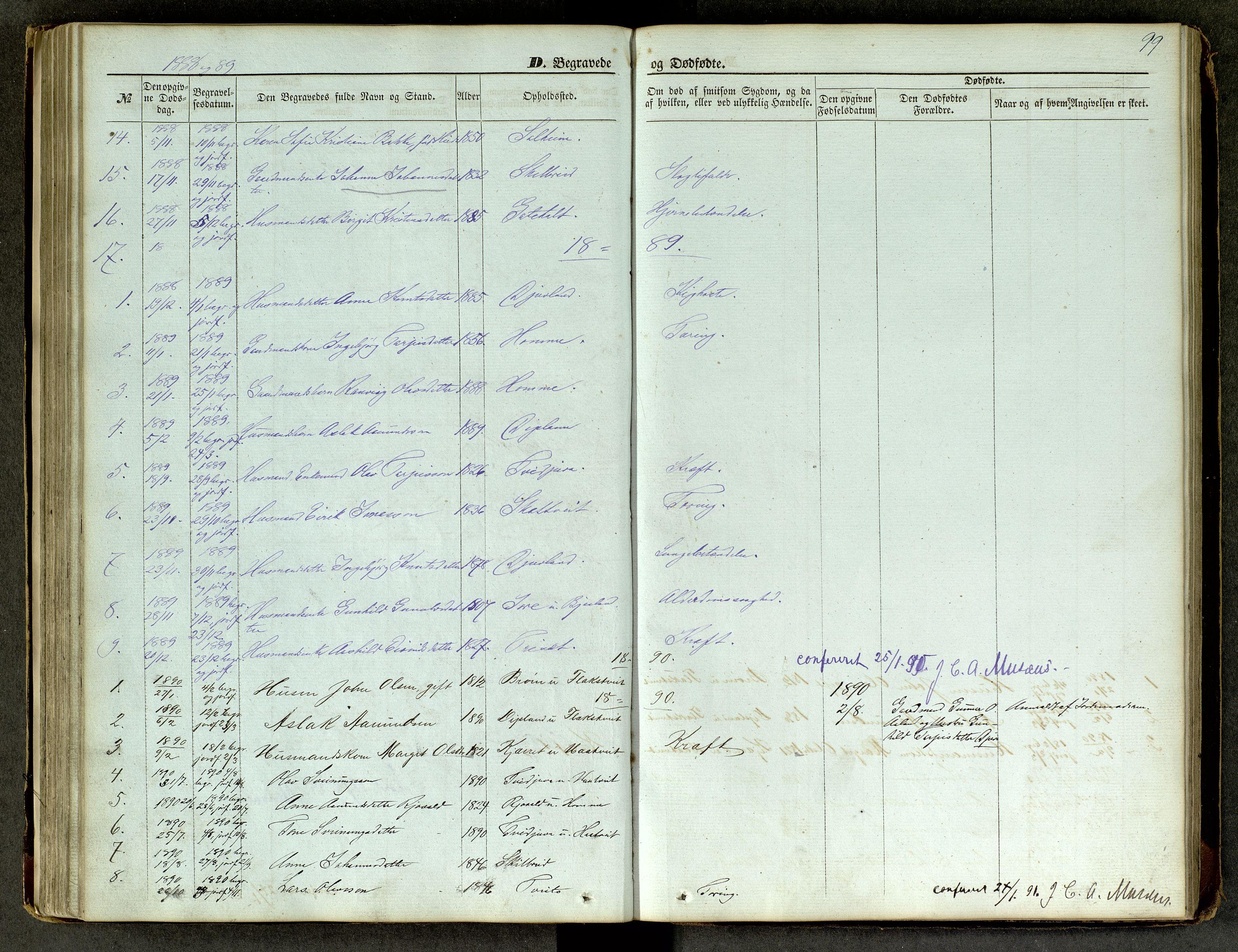 SAKO, Lårdal kirkebøker, G/Ga/L0002: Klokkerbok nr. I 2, 1861-1890, s. 99
