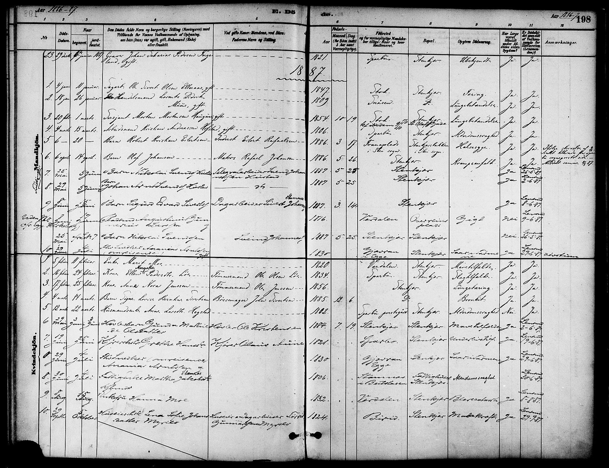 SAT, Ministerialprotokoller, klokkerbøker og fødselsregistre - Nord-Trøndelag, 739/L0371: Ministerialbok nr. 739A03, 1881-1895, s. 198