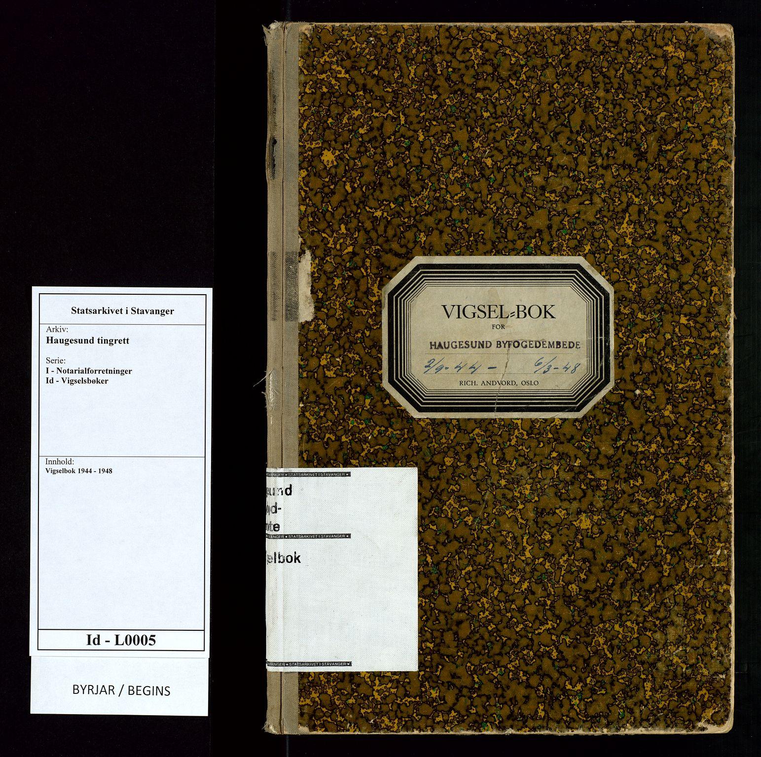 SAST, Haugesund tingrett, III/IIID/L0005: Vigselbok, 1944-1948, s. upaginert