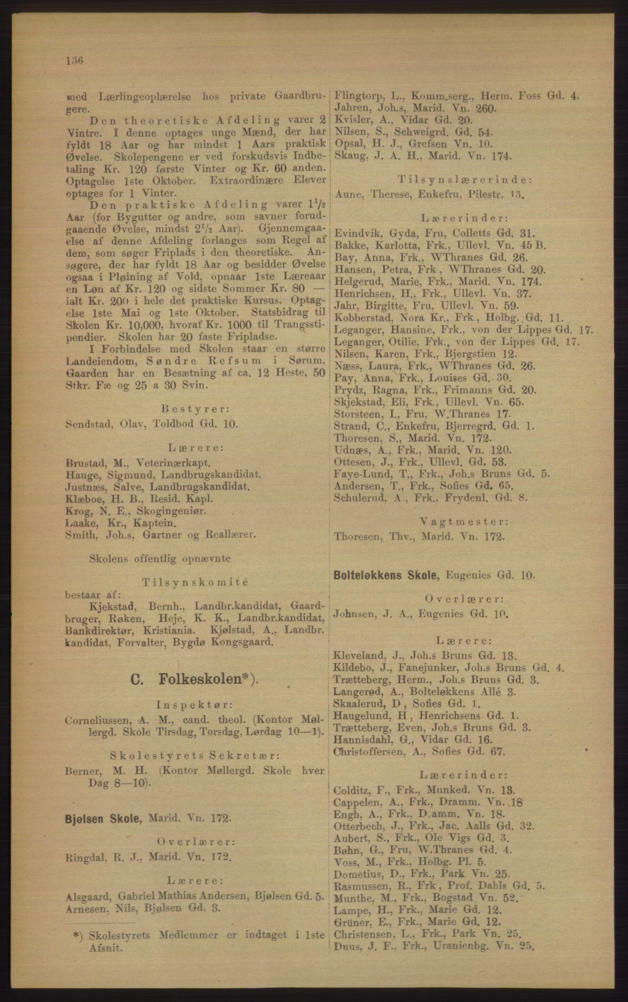 RA, Kristiania adressebok (publikasjon)*, 1906, s. 136