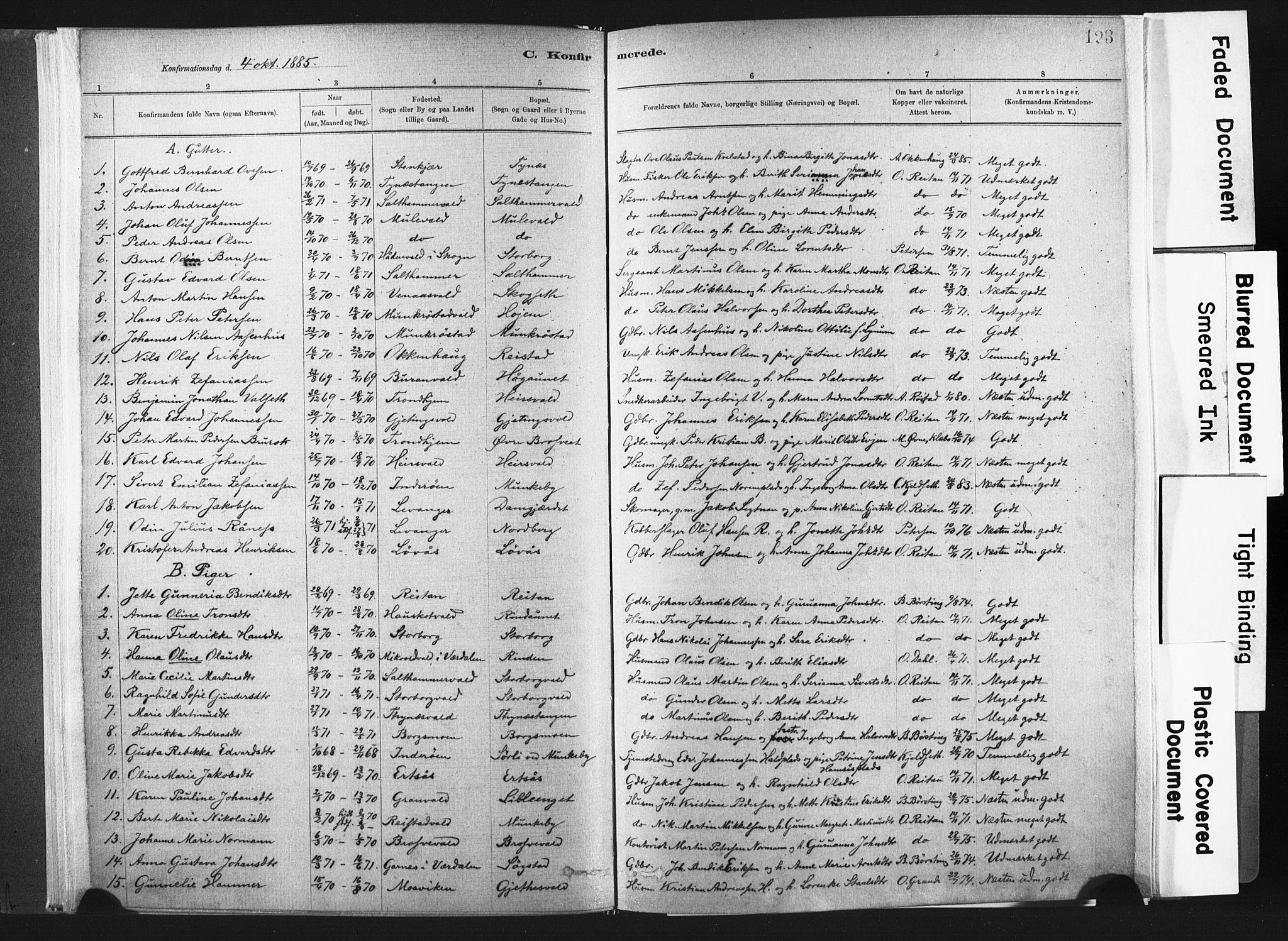 SAT, Ministerialprotokoller, klokkerbøker og fødselsregistre - Nord-Trøndelag, 721/L0207: Ministerialbok nr. 721A02, 1880-1911, s. 123