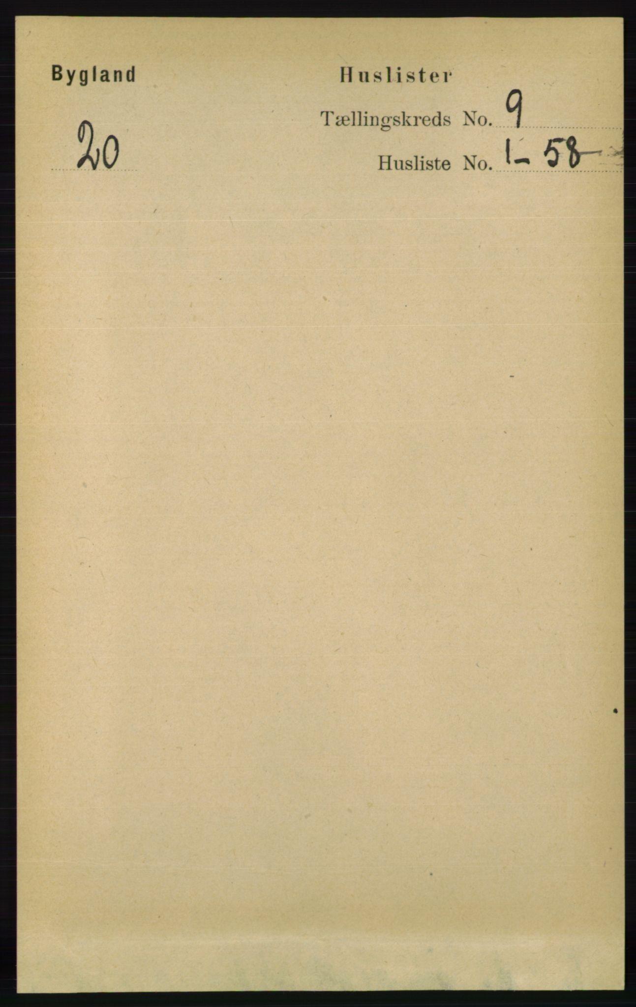 RA, Folketelling 1891 for 0938 Bygland herred, 1891, s. 2191