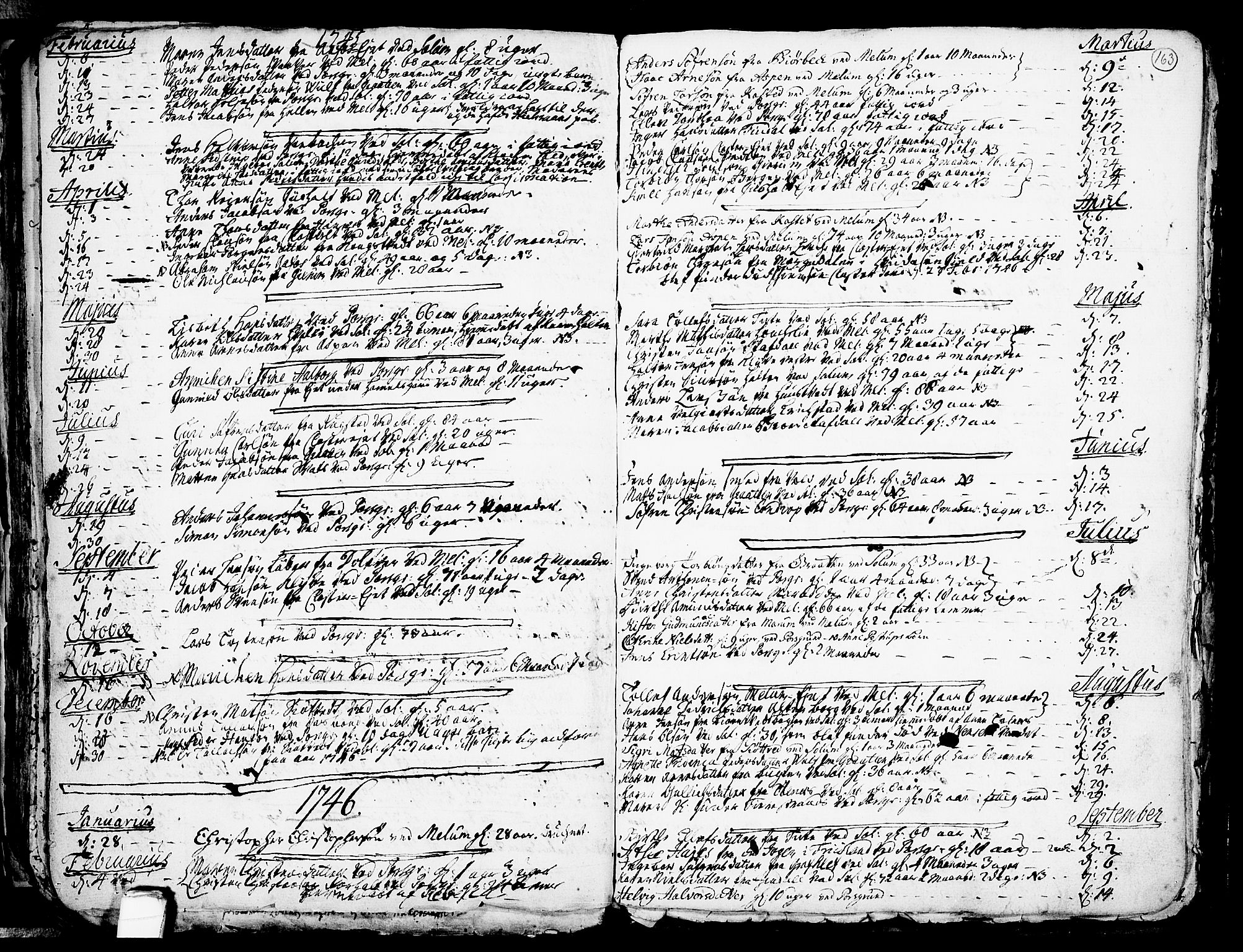 SAKO, Solum kirkebøker, F/Fa/L0002: Ministerialbok nr. I 2, 1713-1761, s. 163