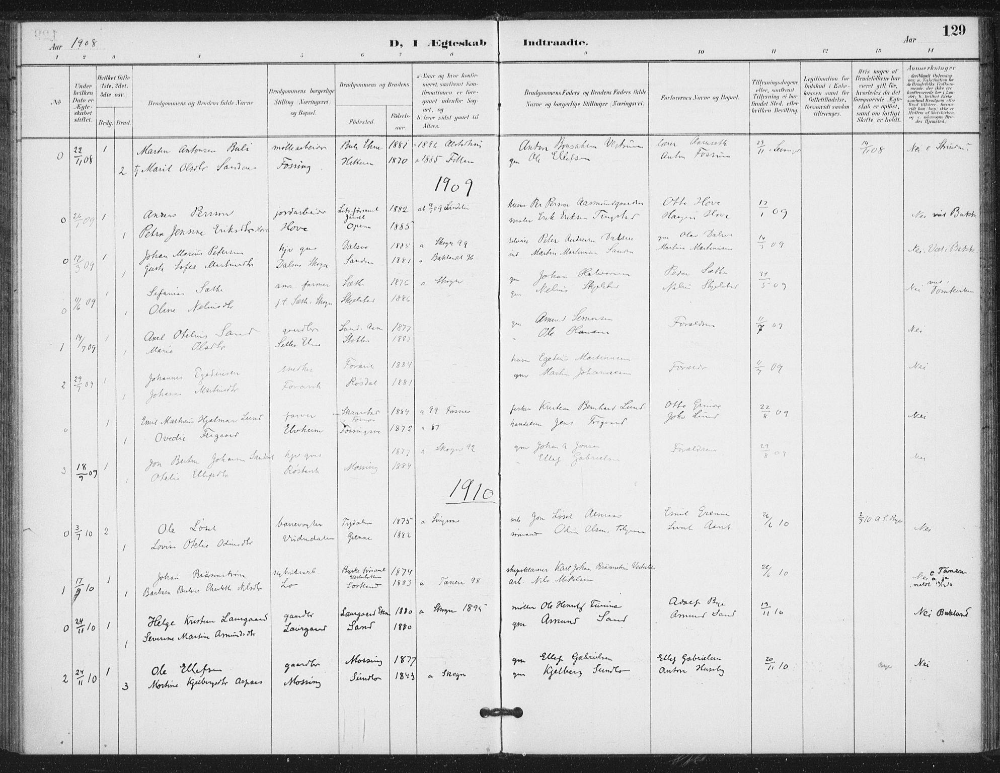 SAT, Ministerialprotokoller, klokkerbøker og fødselsregistre - Nord-Trøndelag, 714/L0131: Ministerialbok nr. 714A02, 1896-1918, s. 129