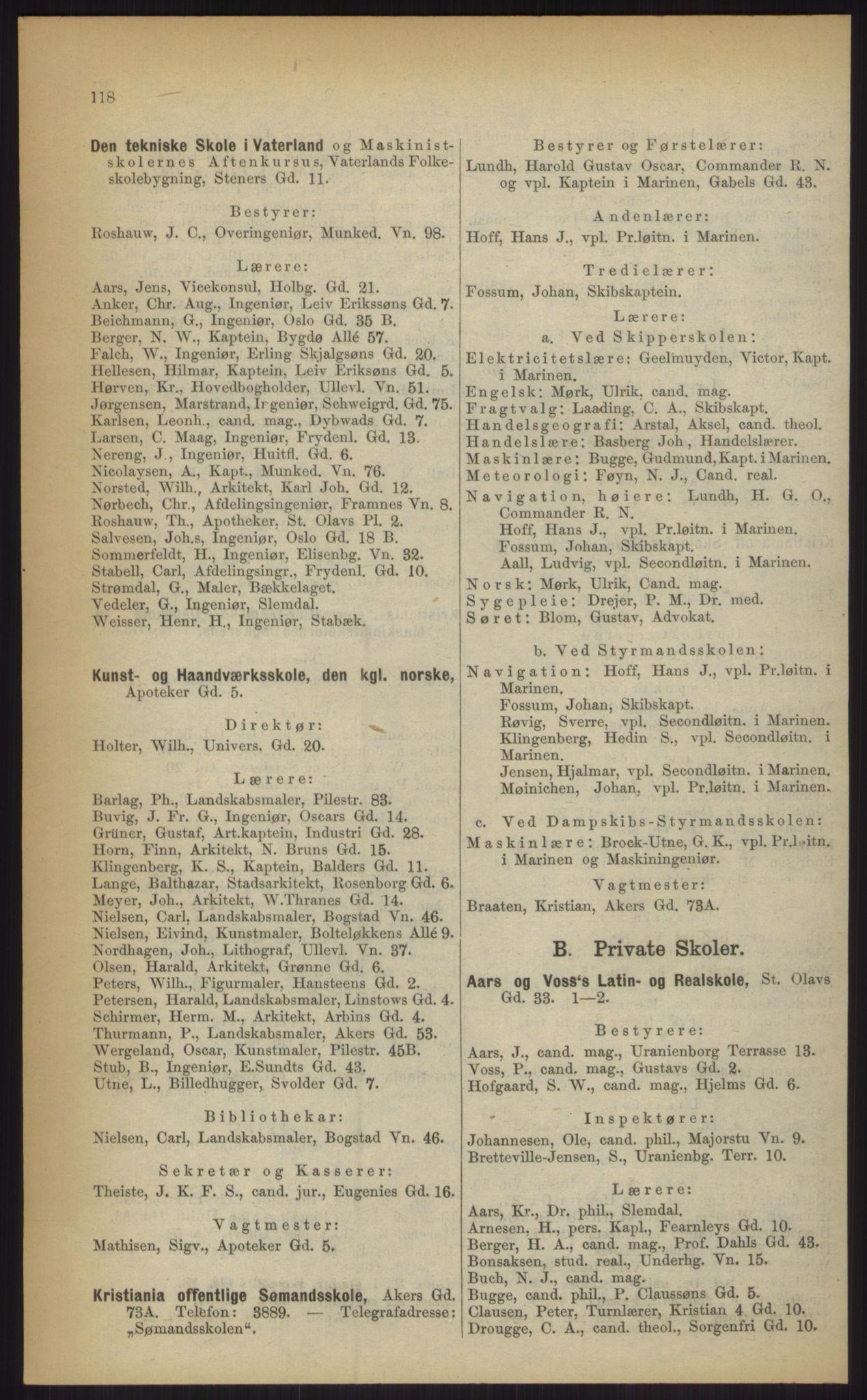 RA, Kristiania adressebok (publikasjon)*, 1903, s. 118