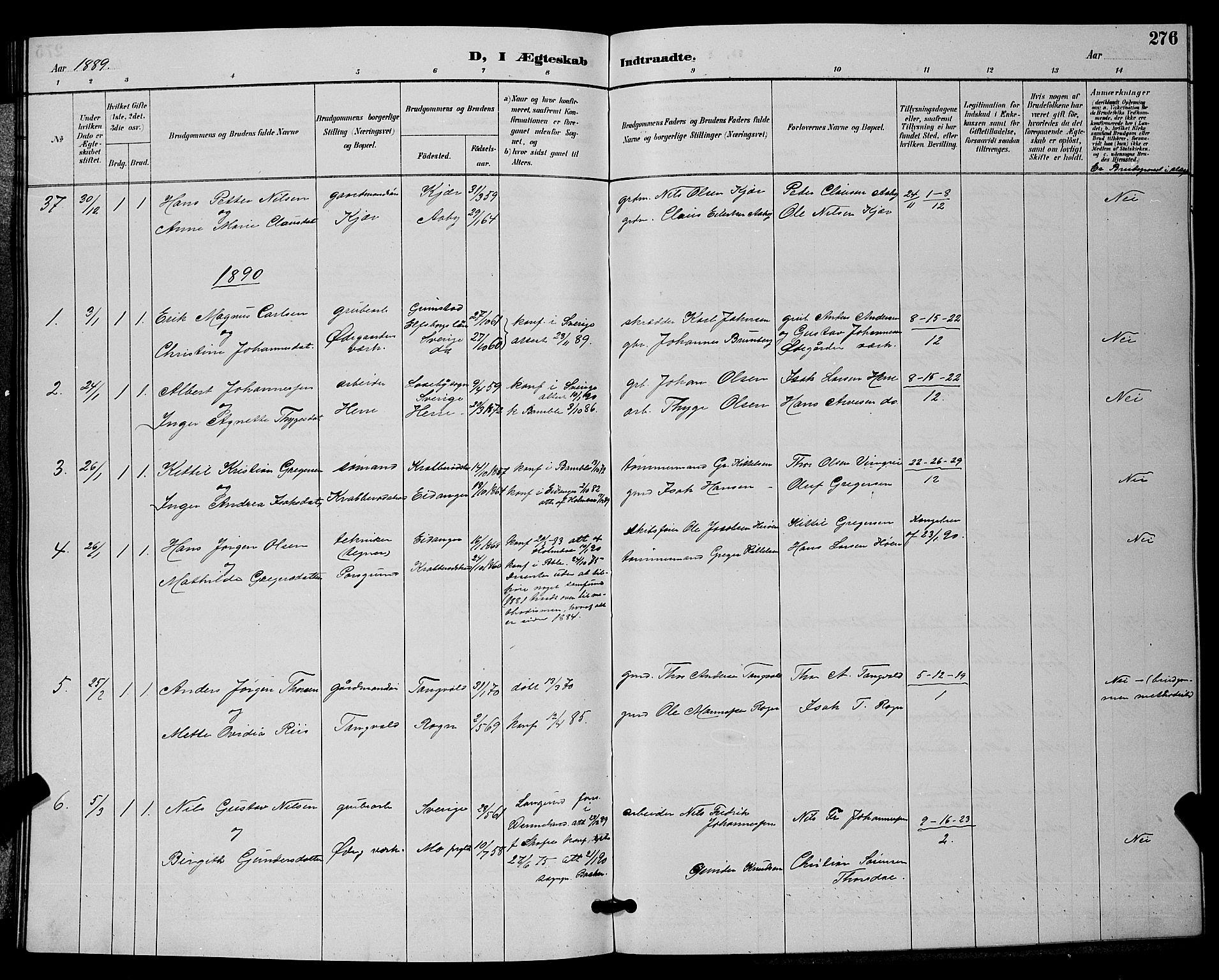 SAKO, Bamble kirkebøker, G/Ga/L0009: Klokkerbok nr. I 9, 1888-1900, s. 276