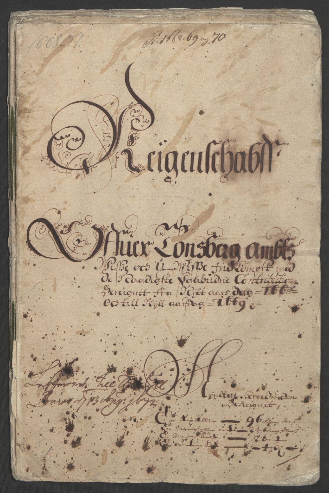 RA, Rentekammeret inntil 1814, Reviderte regnskaper, Fogderegnskap, R32/L1842: Fogderegnskap Jarlsberg grevskap, 1664-1673, s. 219
