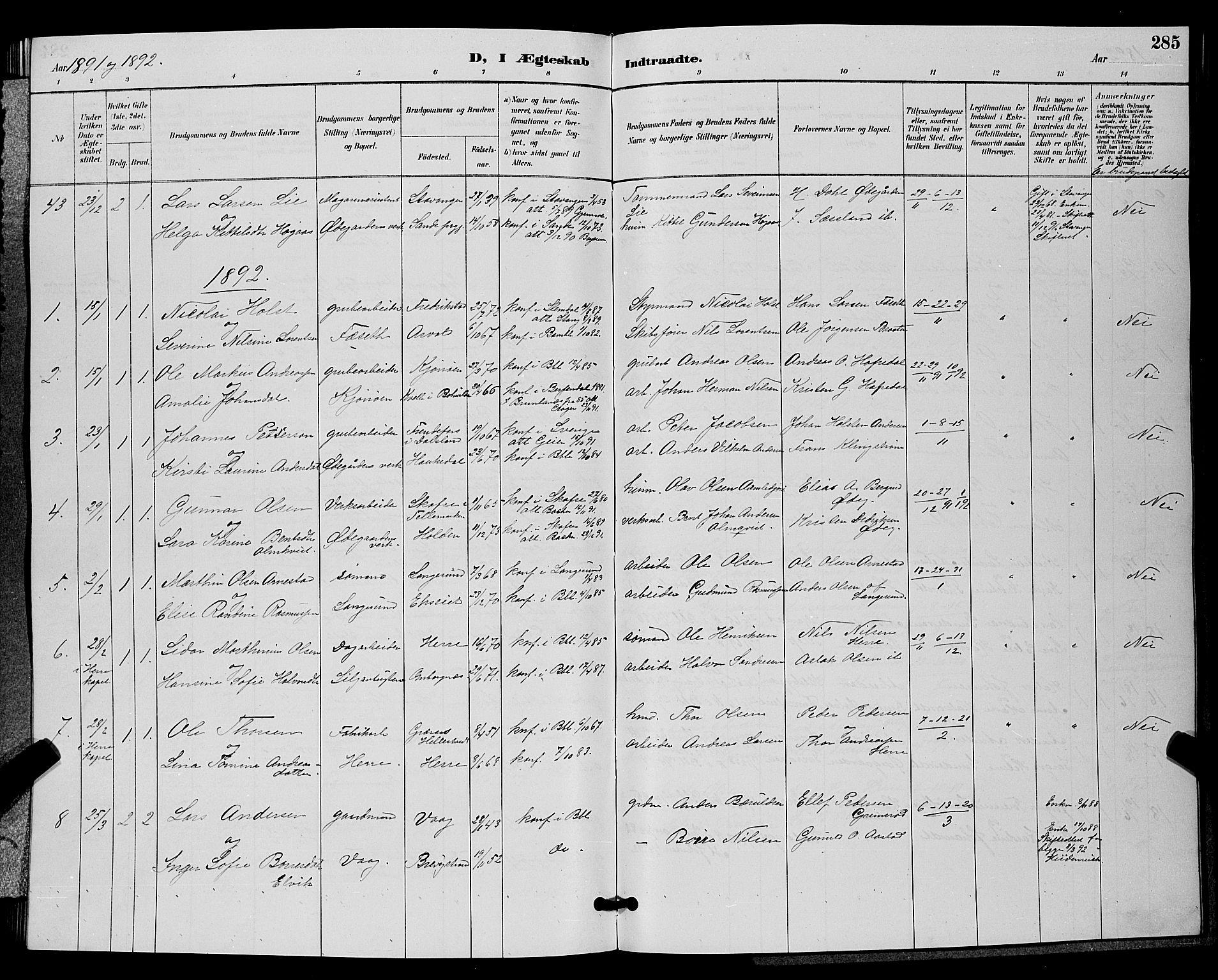 SAKO, Bamble kirkebøker, G/Ga/L0009: Klokkerbok nr. I 9, 1888-1900, s. 285