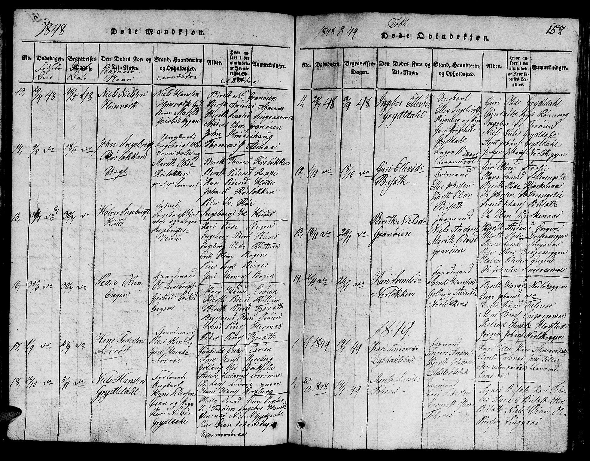 SAT, Ministerialprotokoller, klokkerbøker og fødselsregistre - Sør-Trøndelag, 688/L1026: Klokkerbok nr. 688C01, 1817-1860, s. 152