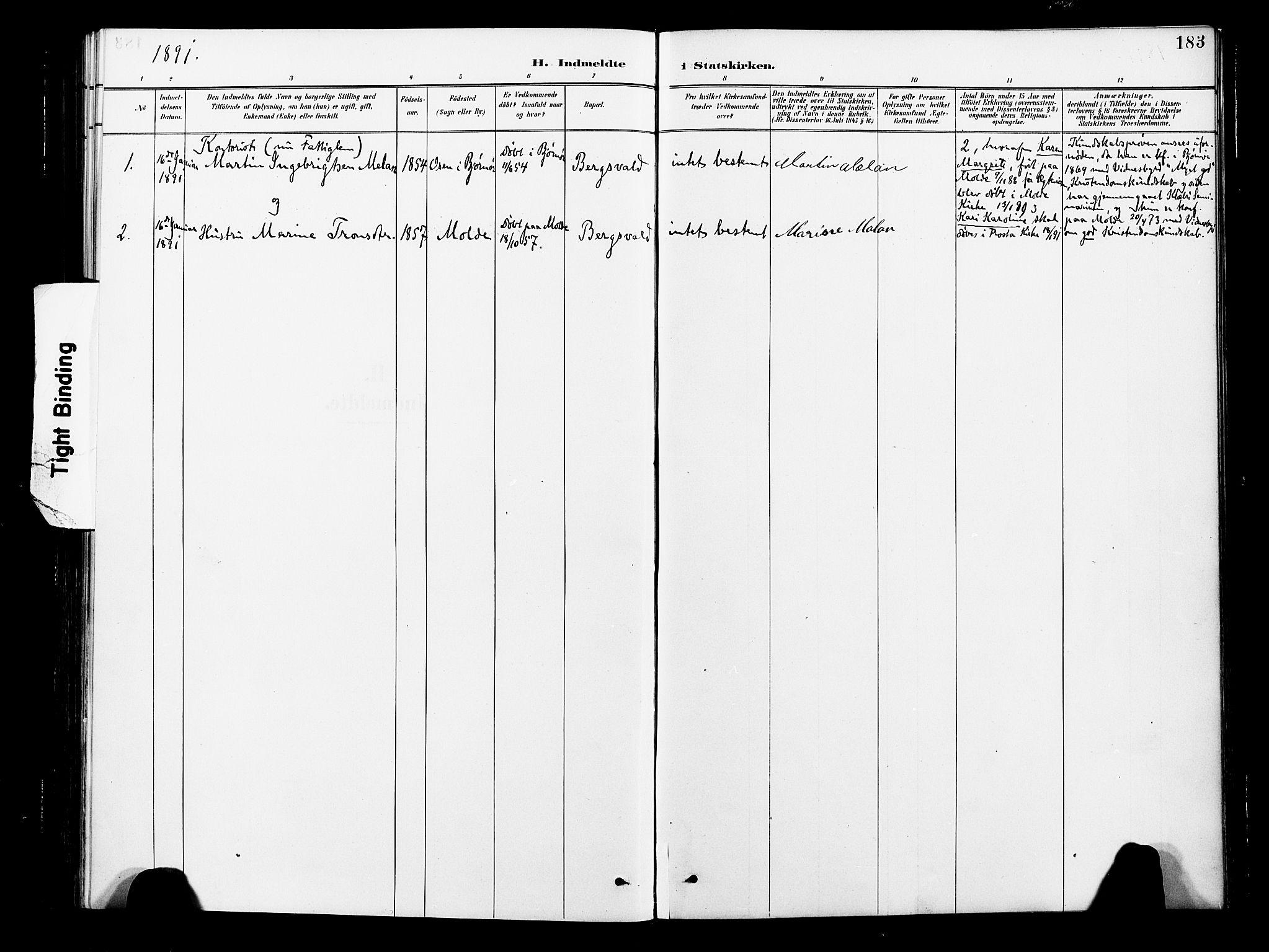 SAT, Ministerialprotokoller, klokkerbøker og fødselsregistre - Nord-Trøndelag, 713/L0121: Ministerialbok nr. 713A10, 1888-1898, s. 183