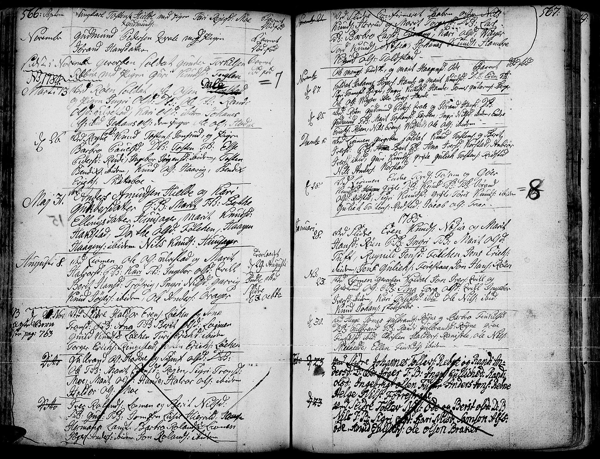 SAH, Slidre prestekontor, Ministerialbok nr. 1, 1724-1814, s. 566-567
