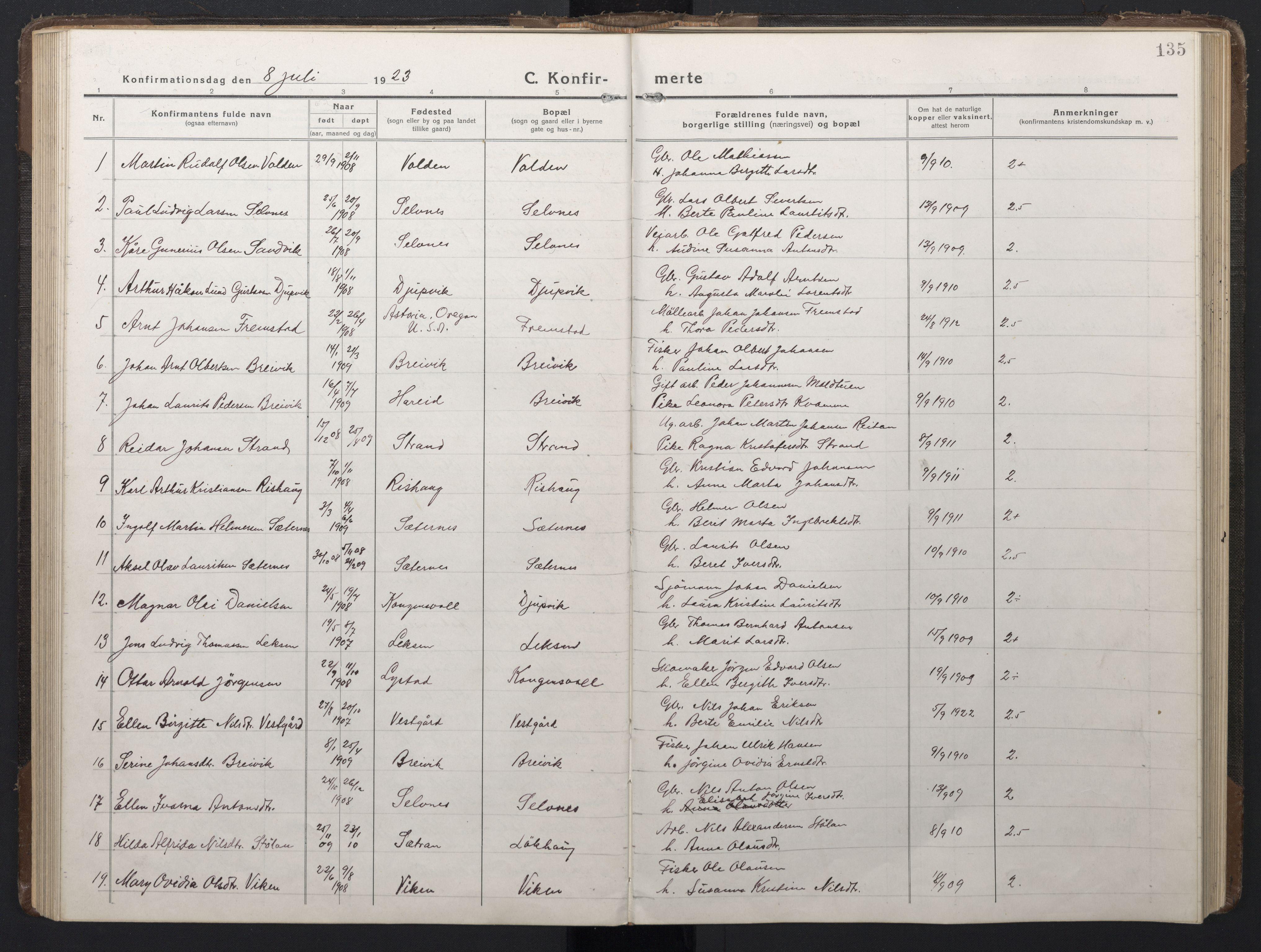 SAT, Ministerialprotokoller, klokkerbøker og fødselsregistre - Sør-Trøndelag, 662/L0758: Klokkerbok nr. 662C03, 1918-1948, s. 135