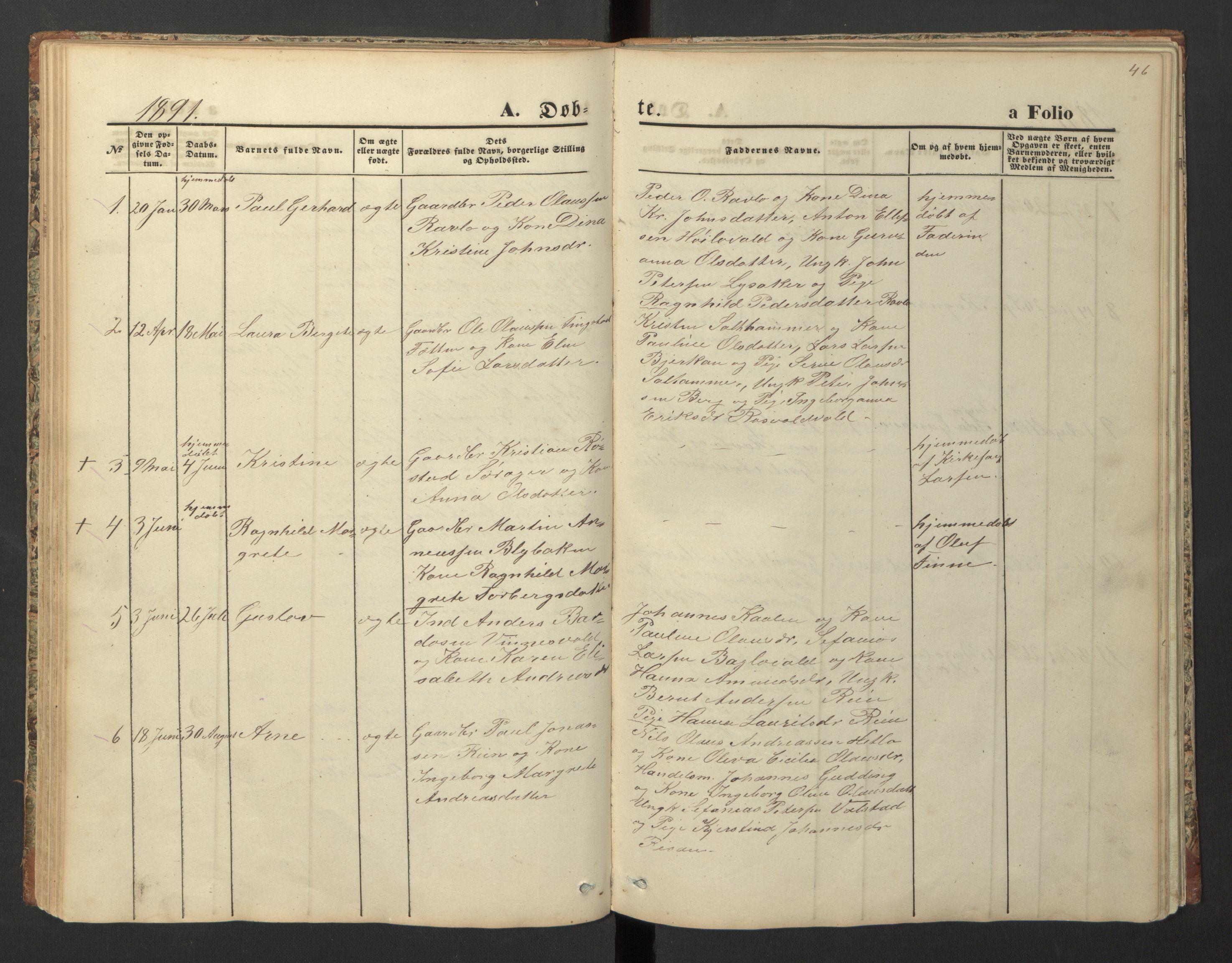 SAT, Ministerialprotokoller, klokkerbøker og fødselsregistre - Nord-Trøndelag, 726/L0271: Klokkerbok nr. 726C02, 1869-1897, s. 46