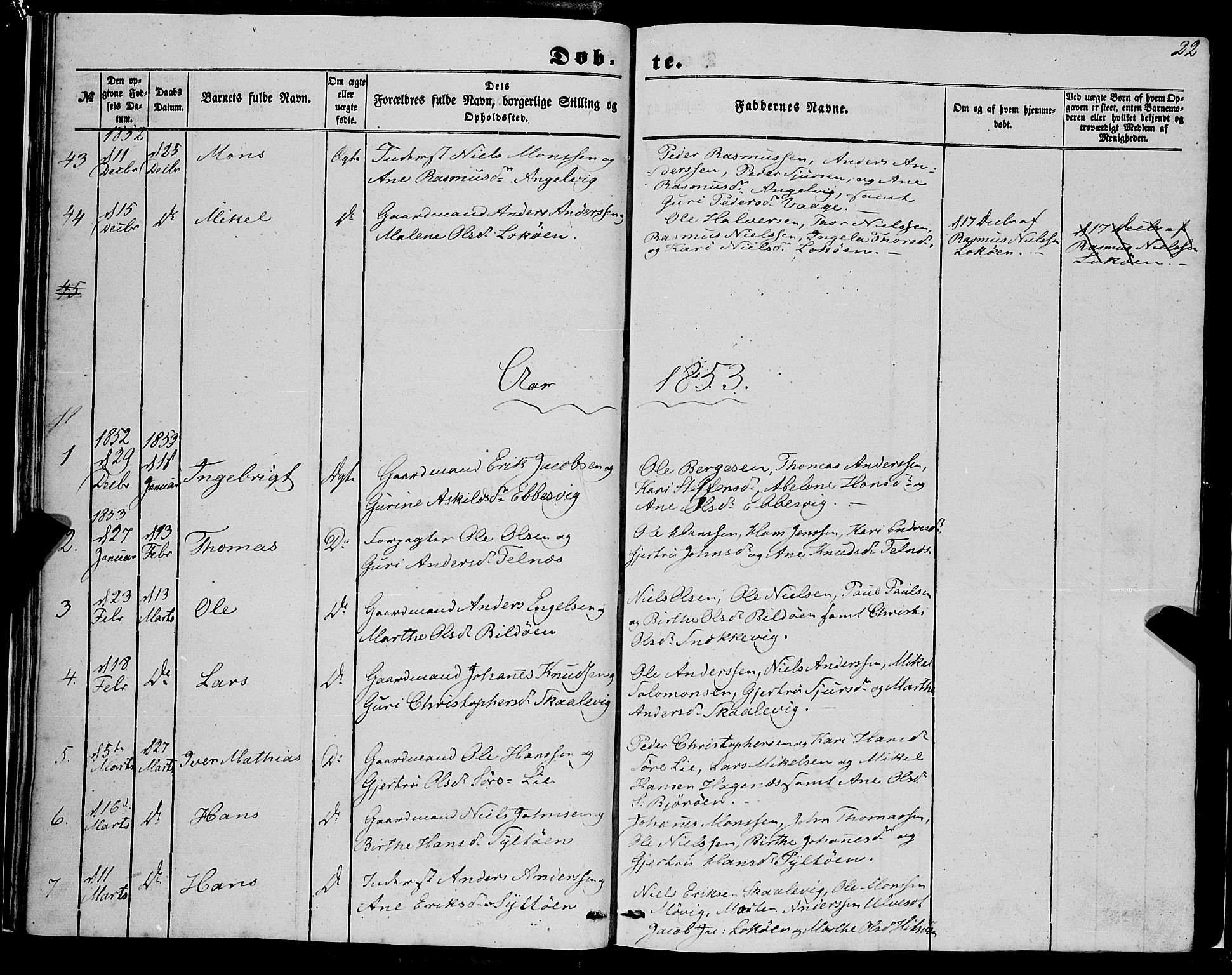 SAB, Fjell Sokneprestembete, H/Haa: Ministerialbok nr. A 2, 1847-1864, s. 22