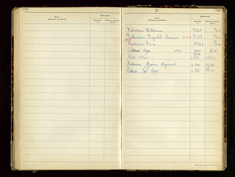 SAST, Haugesund sjømannskontor, F/Fb/Fba/L0007: Navneregister med henvisning til rullenummer (etternavn) Haugesund krets , 1944, s. 280