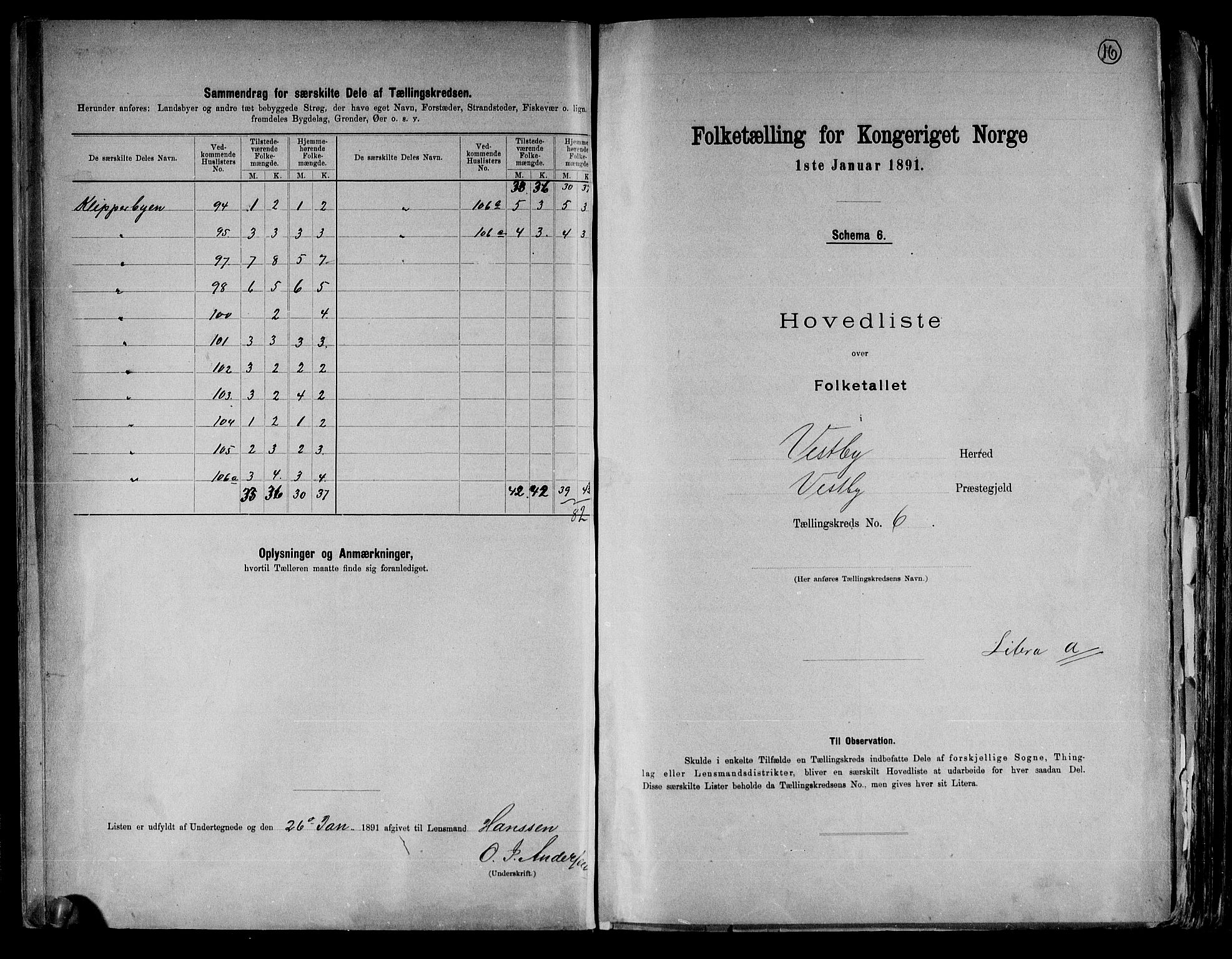 RA, Folketelling 1891 for 0211 Vestby herred, 1891, s. 16