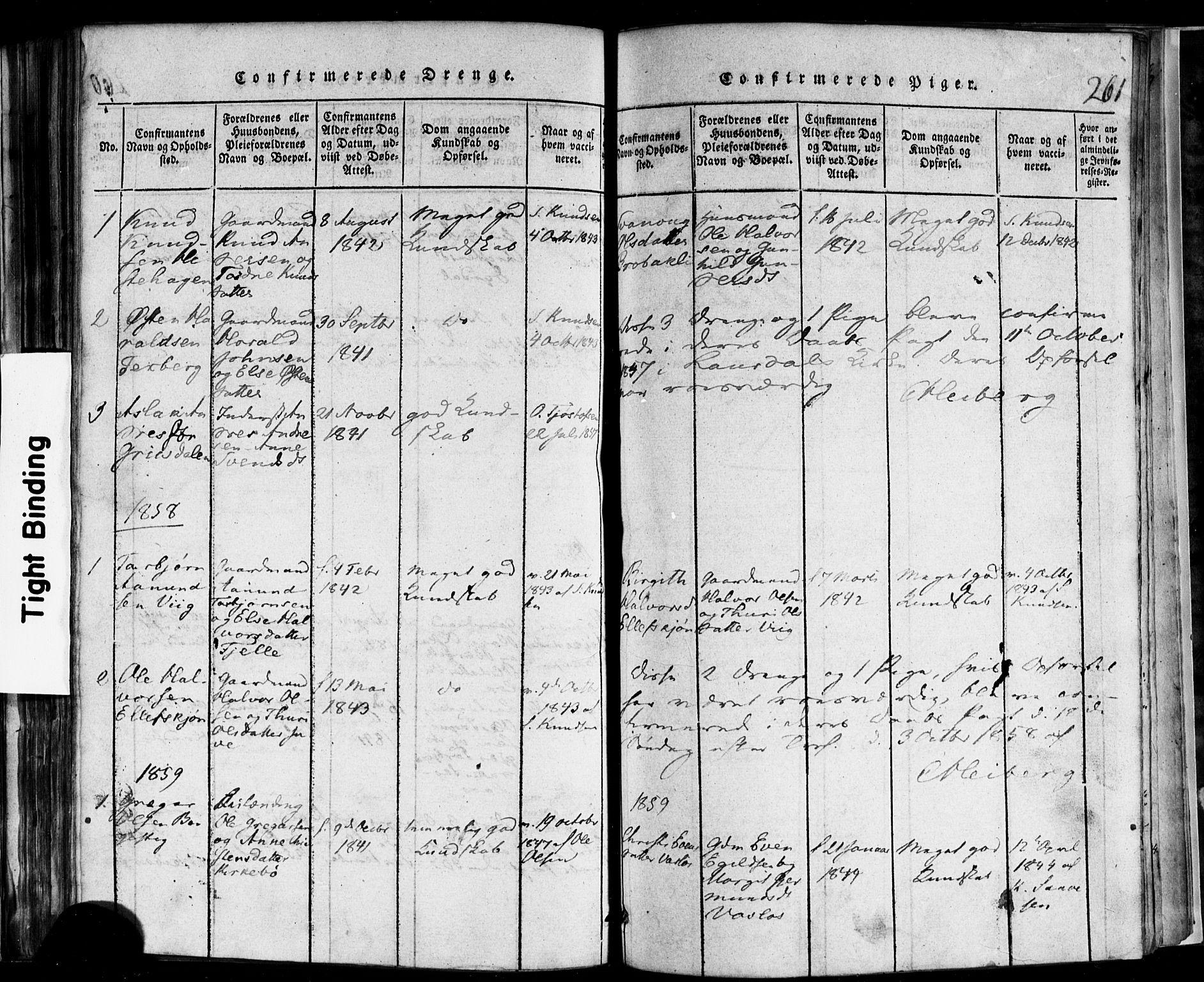 SAKO, Rauland kirkebøker, F/Fa/L0002: Ministerialbok nr. 2, 1815-1860, s. 261