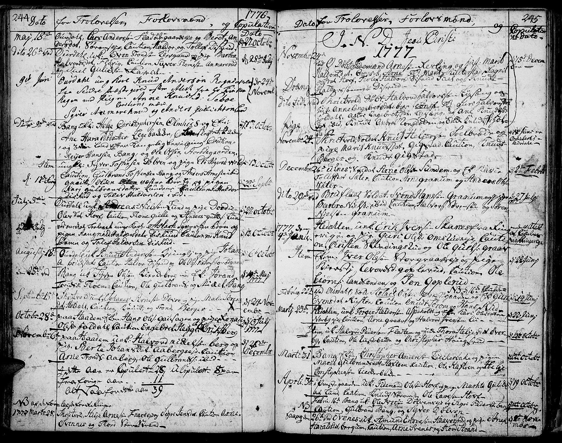 SAH, Aurdal prestekontor, Ministerialbok nr. 5, 1763-1781, s. 244-245