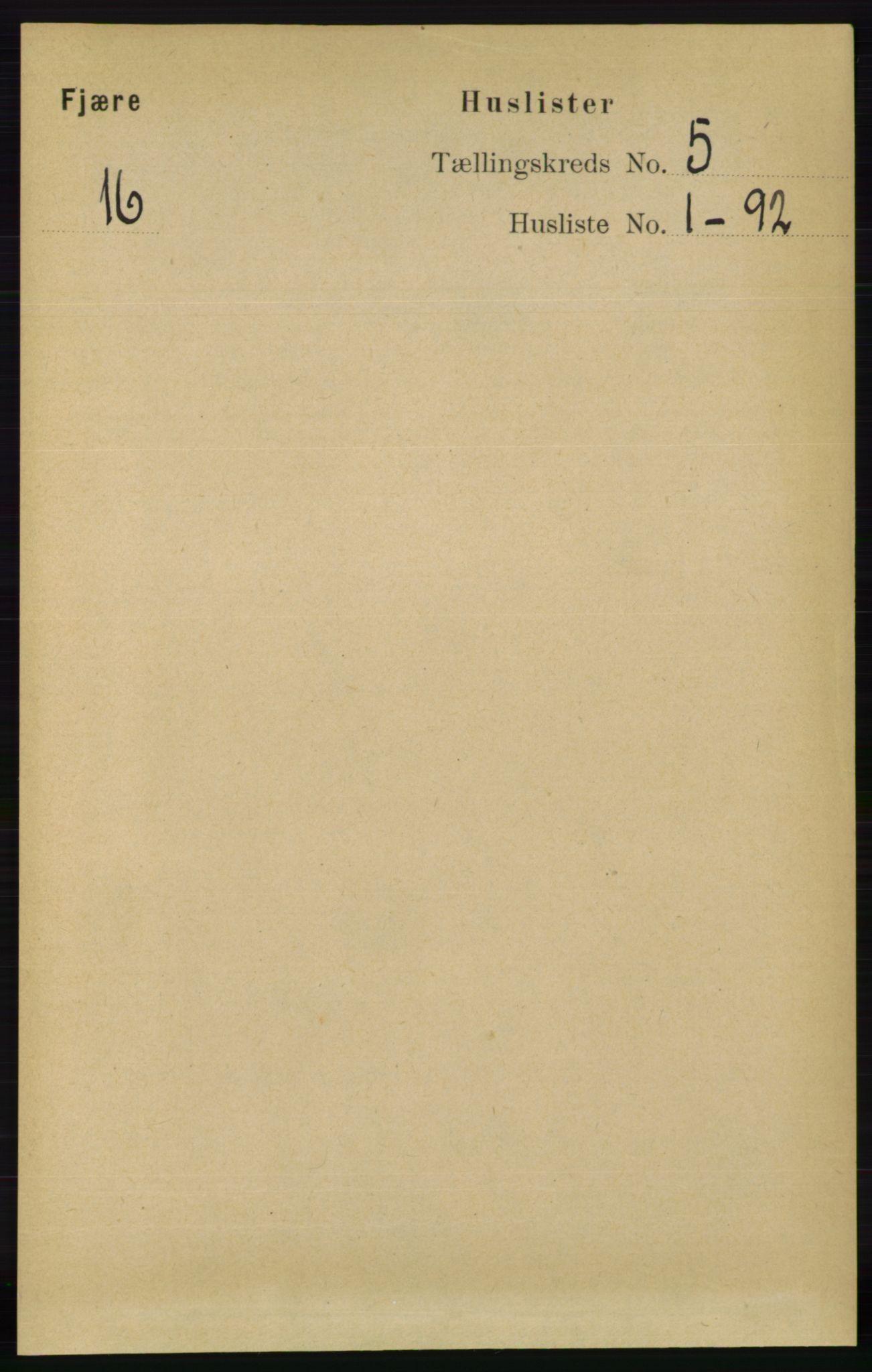 RA, Folketelling 1891 for 0923 Fjære herred, 1891, s. 2330
