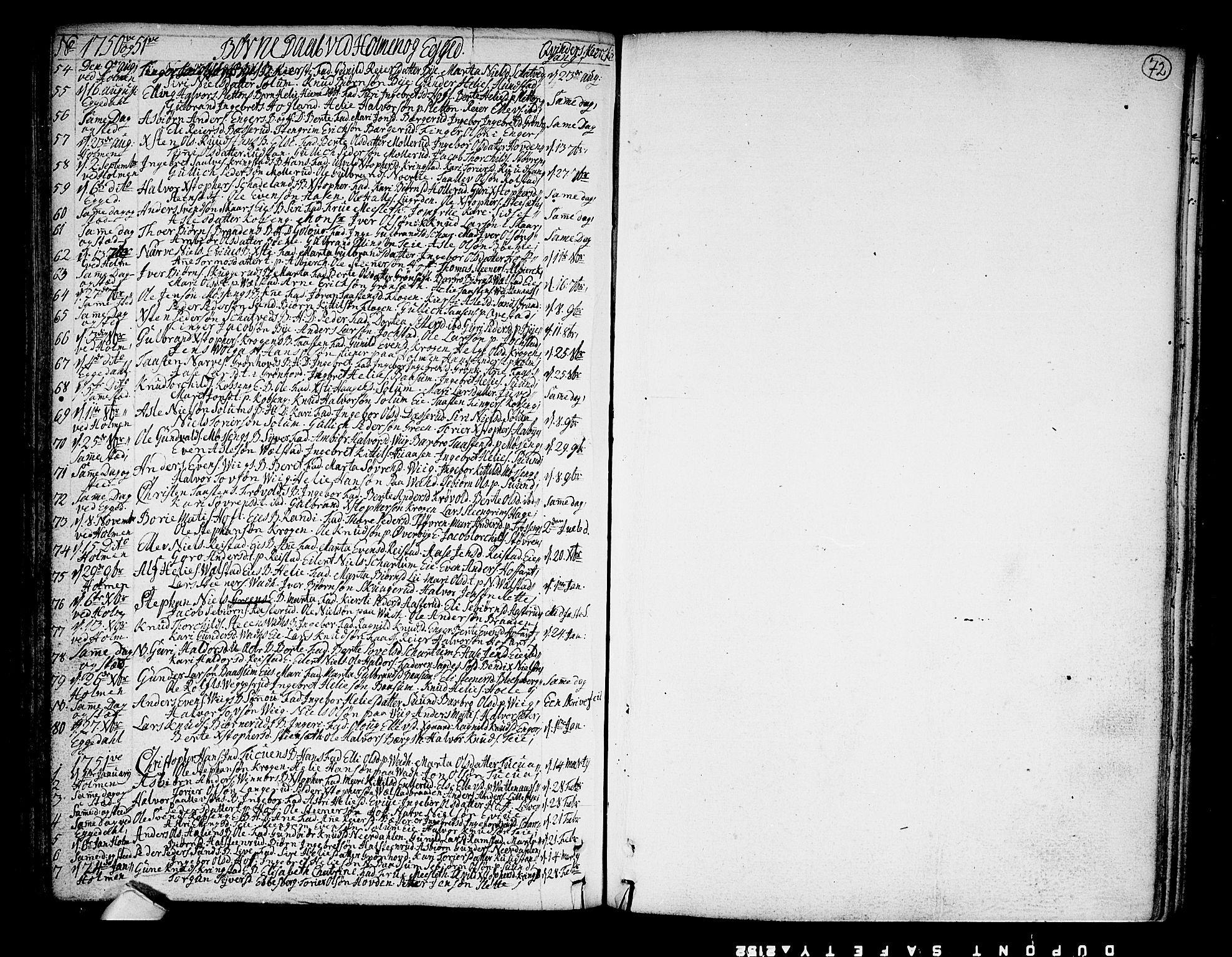 SAKO, Sigdal kirkebøker, F/Fa/L0001: Ministerialbok nr. I 1, 1722-1777, s. 72