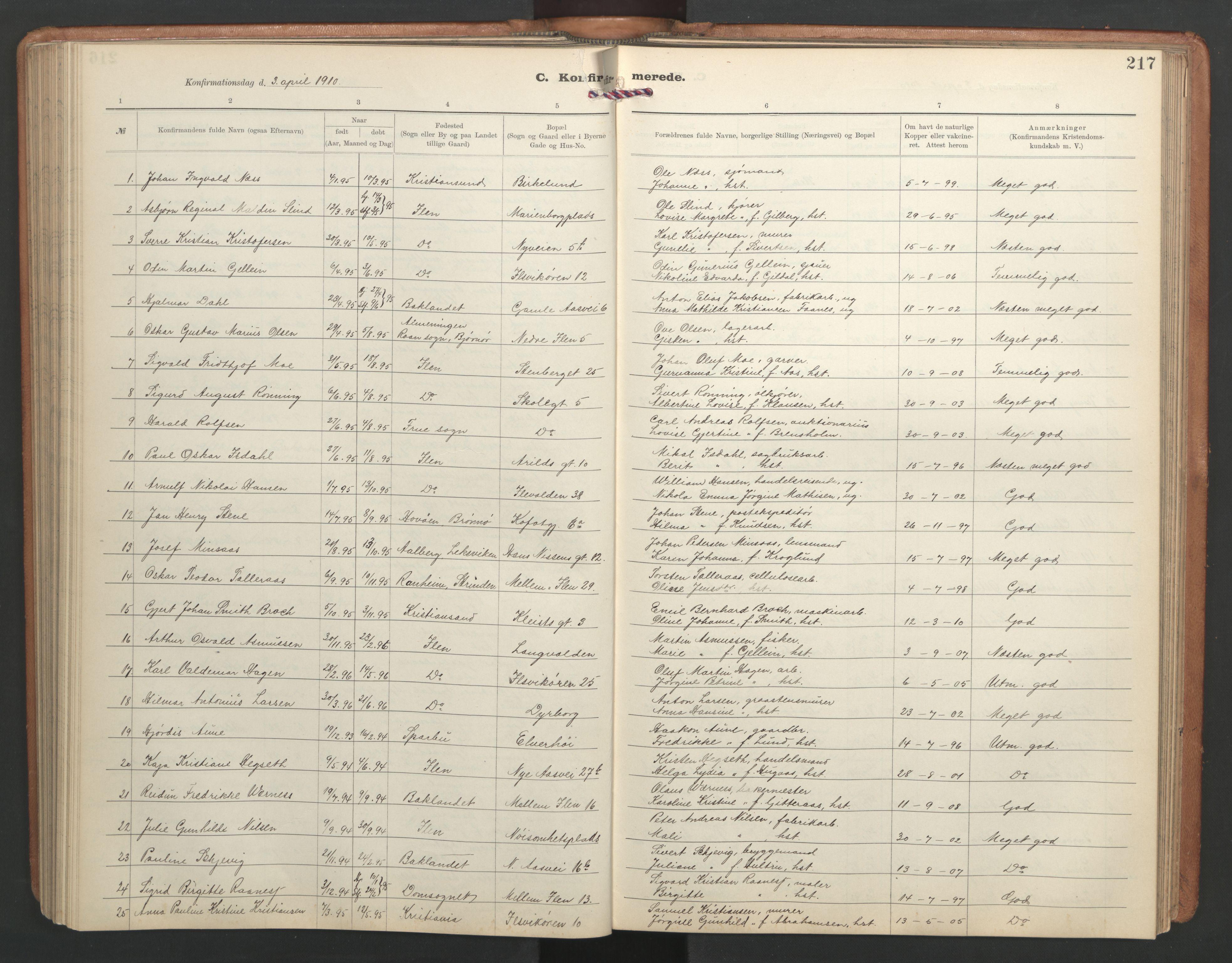 SAT, Ministerialprotokoller, klokkerbøker og fødselsregistre - Sør-Trøndelag, 603/L0173: Klokkerbok nr. 603C01, 1907-1962, s. 217