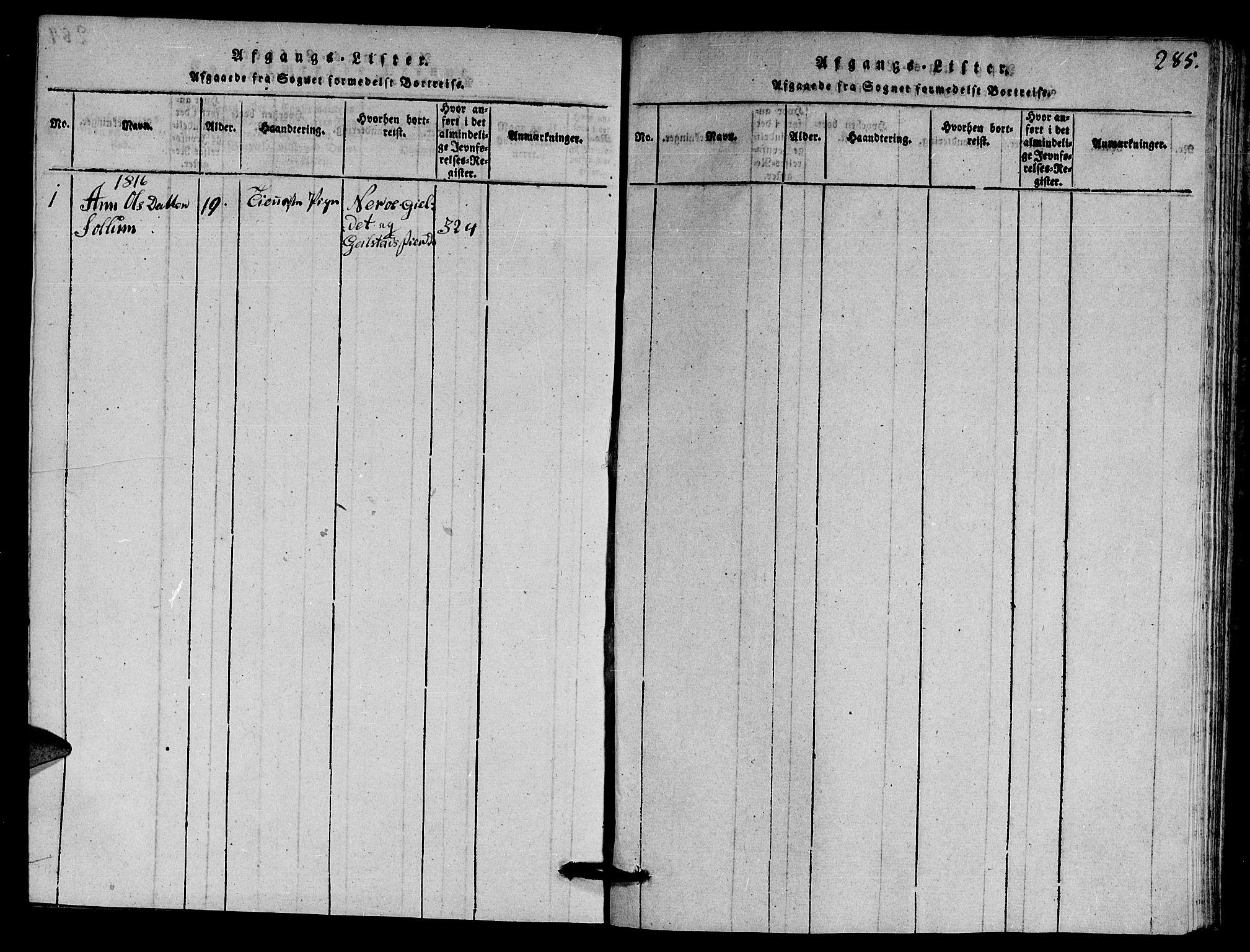 SAT, Ministerialprotokoller, klokkerbøker og fødselsregistre - Nord-Trøndelag, 770/L0590: Klokkerbok nr. 770C01, 1815-1824, s. 285