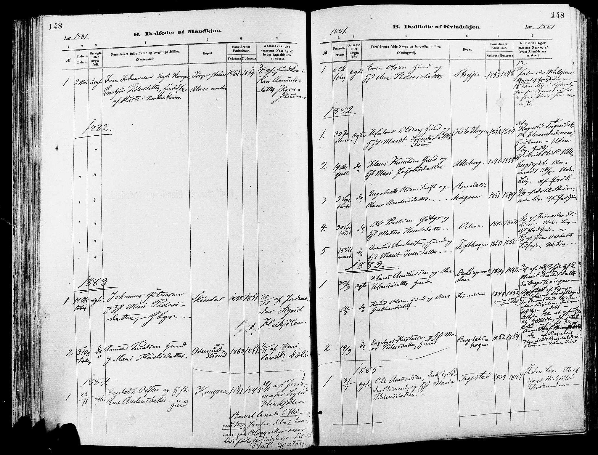 SAH, Sør-Fron prestekontor, H/Ha/Haa/L0003: Ministerialbok nr. 3, 1881-1897, s. 148