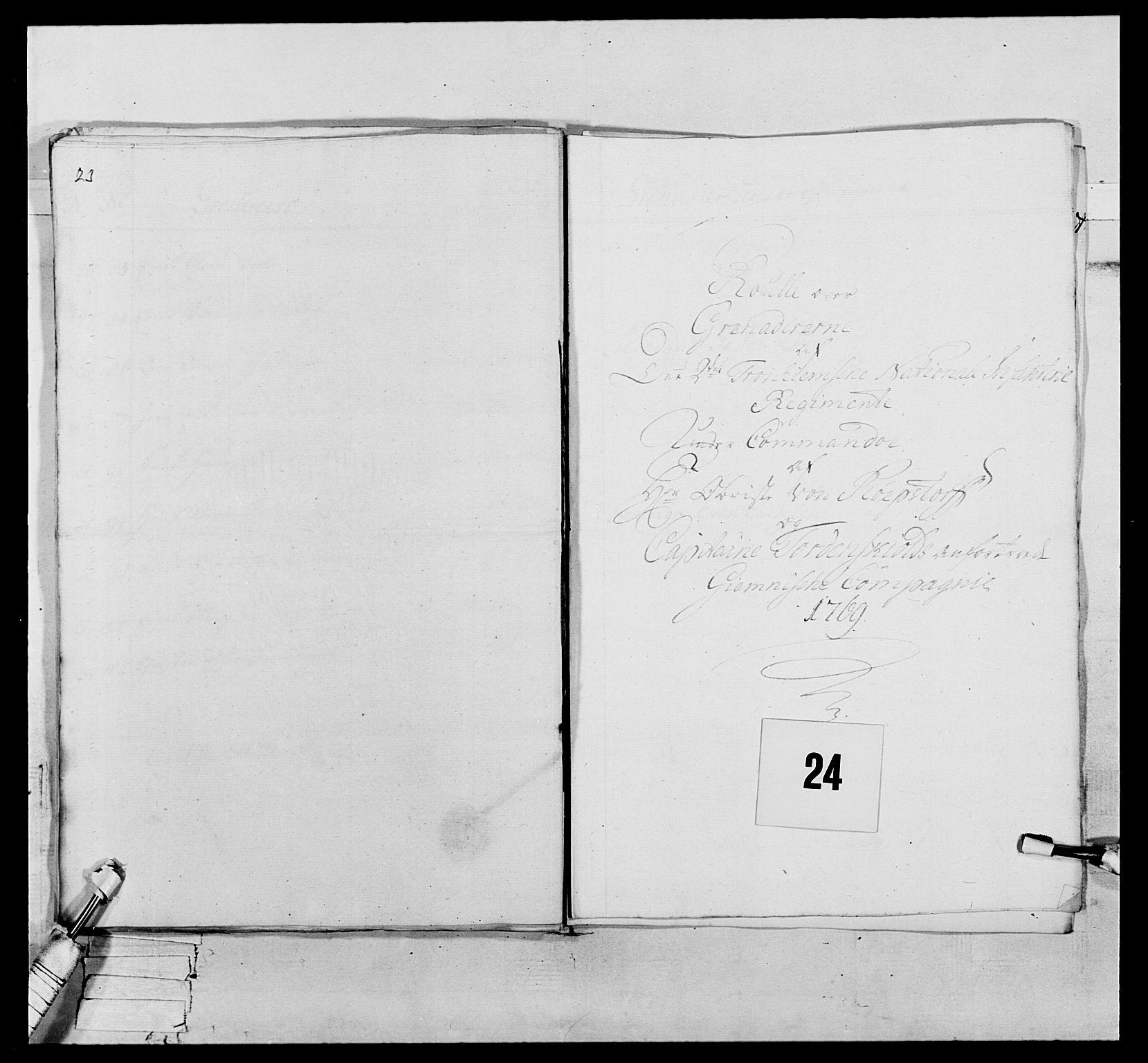 RA, Generalitets- og kommissariatskollegiet, Det kongelige norske kommissariatskollegium, E/Eh/L0076: 2. Trondheimske nasjonale infanteriregiment, 1766-1773, s. 59